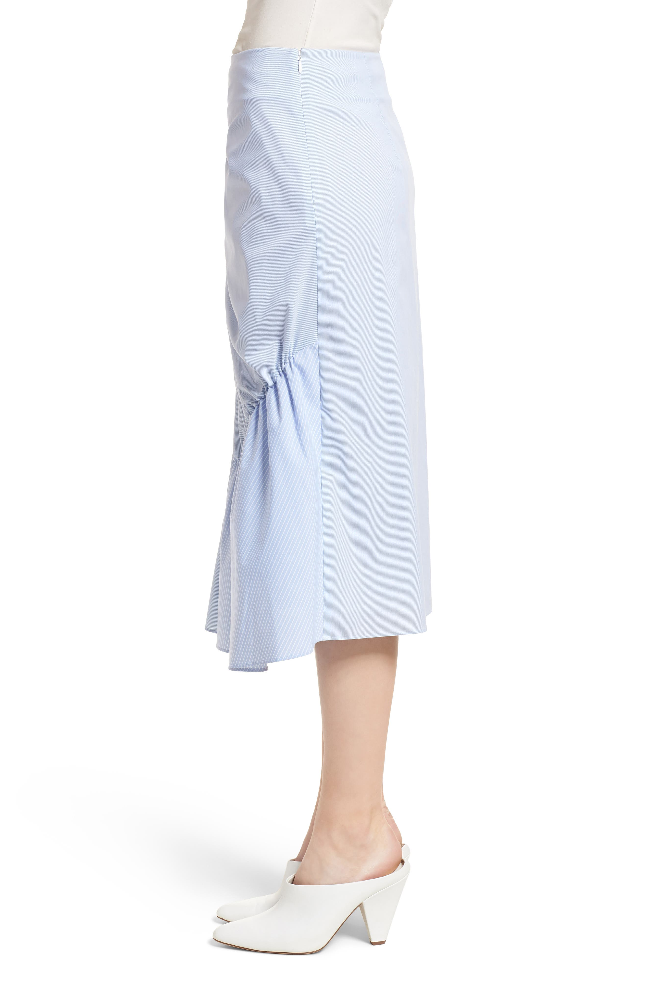 Mixed Stripe Poplin A-Line Skirt,                             Alternate thumbnail 3, color,                             Blue/ White Pinstripe