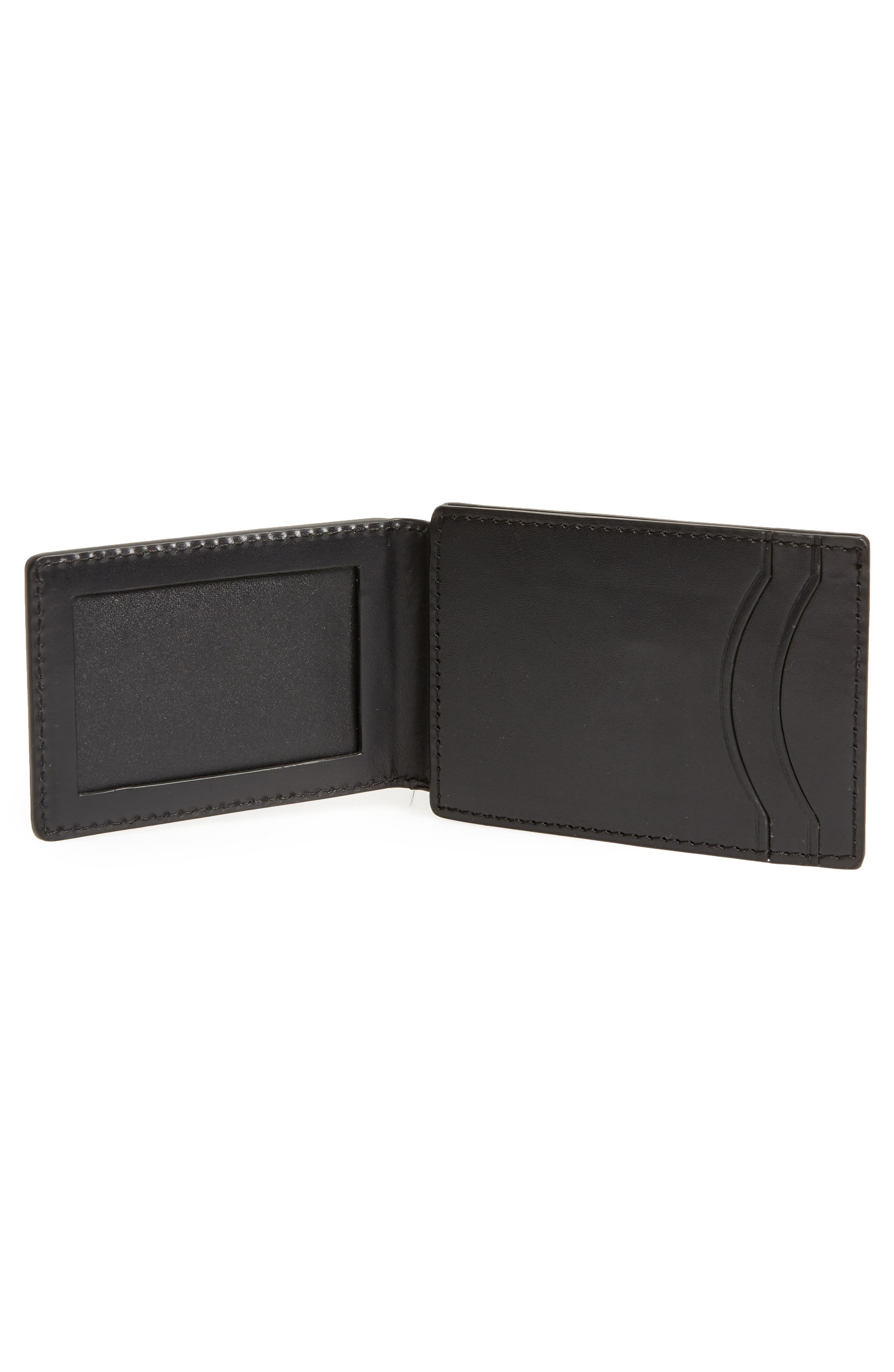 Flap ID Leather Card Case,                             Alternate thumbnail 2, color,                             Black