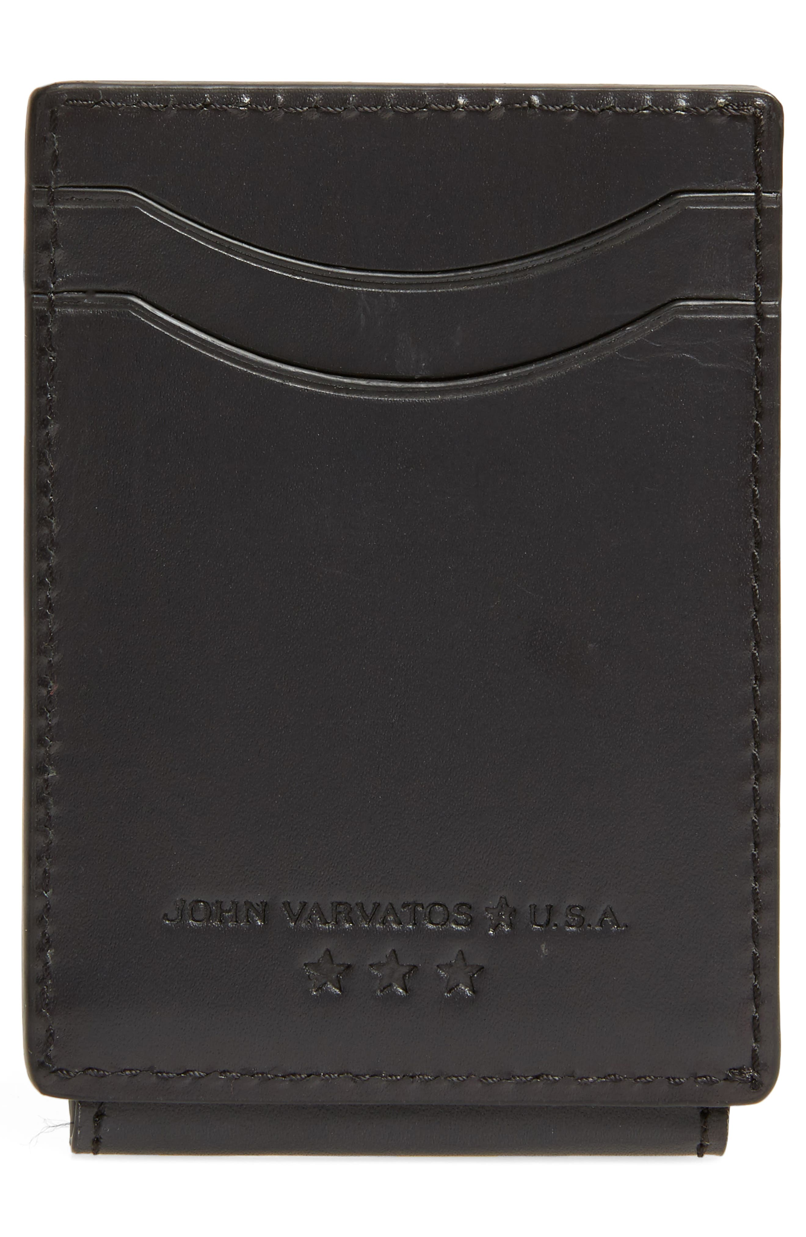 Flap ID Leather Card Case,                             Alternate thumbnail 3, color,                             Black
