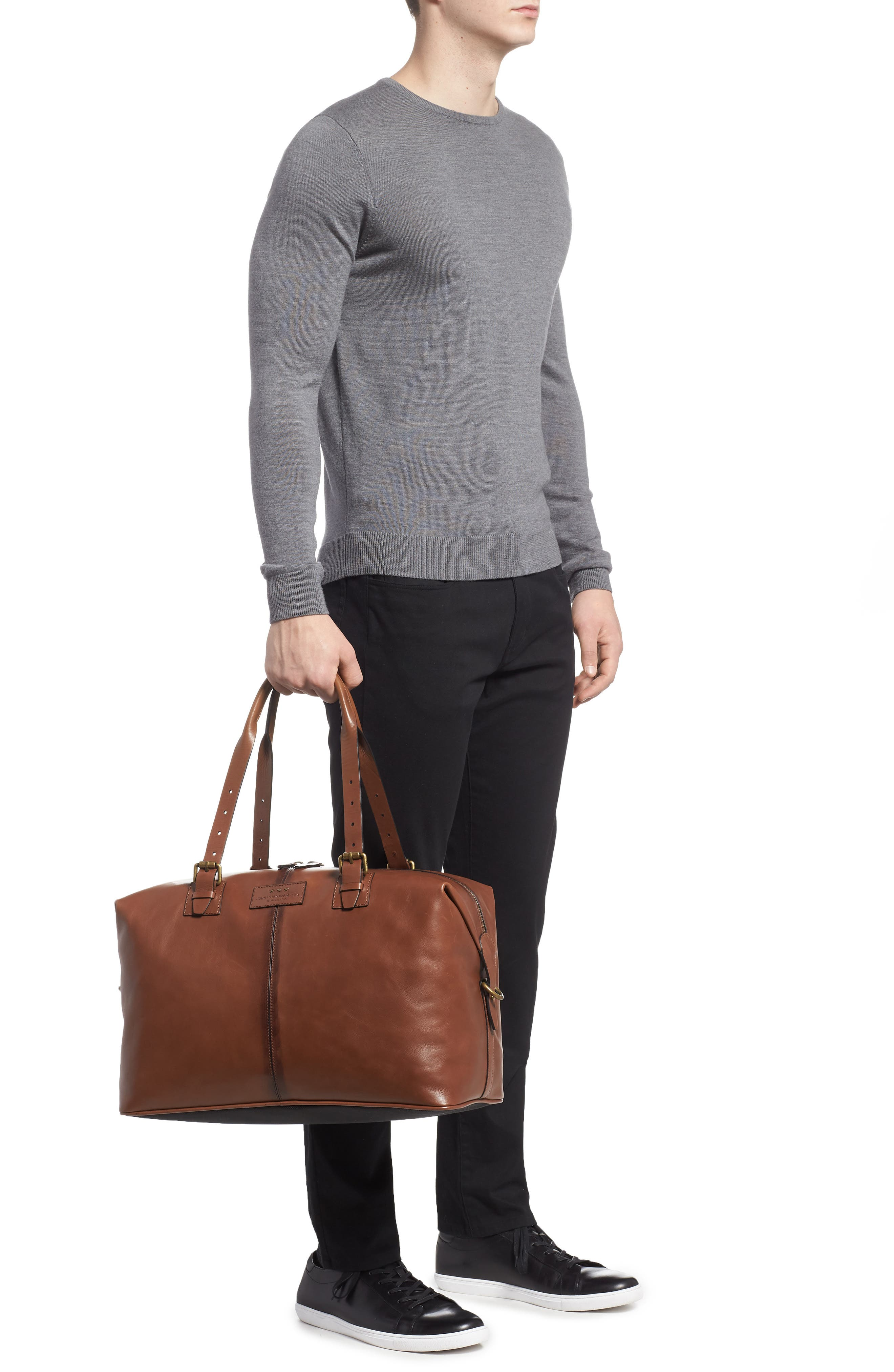 Heritage Leather Duffel Bag,                             Alternate thumbnail 2, color,                             Brownstone