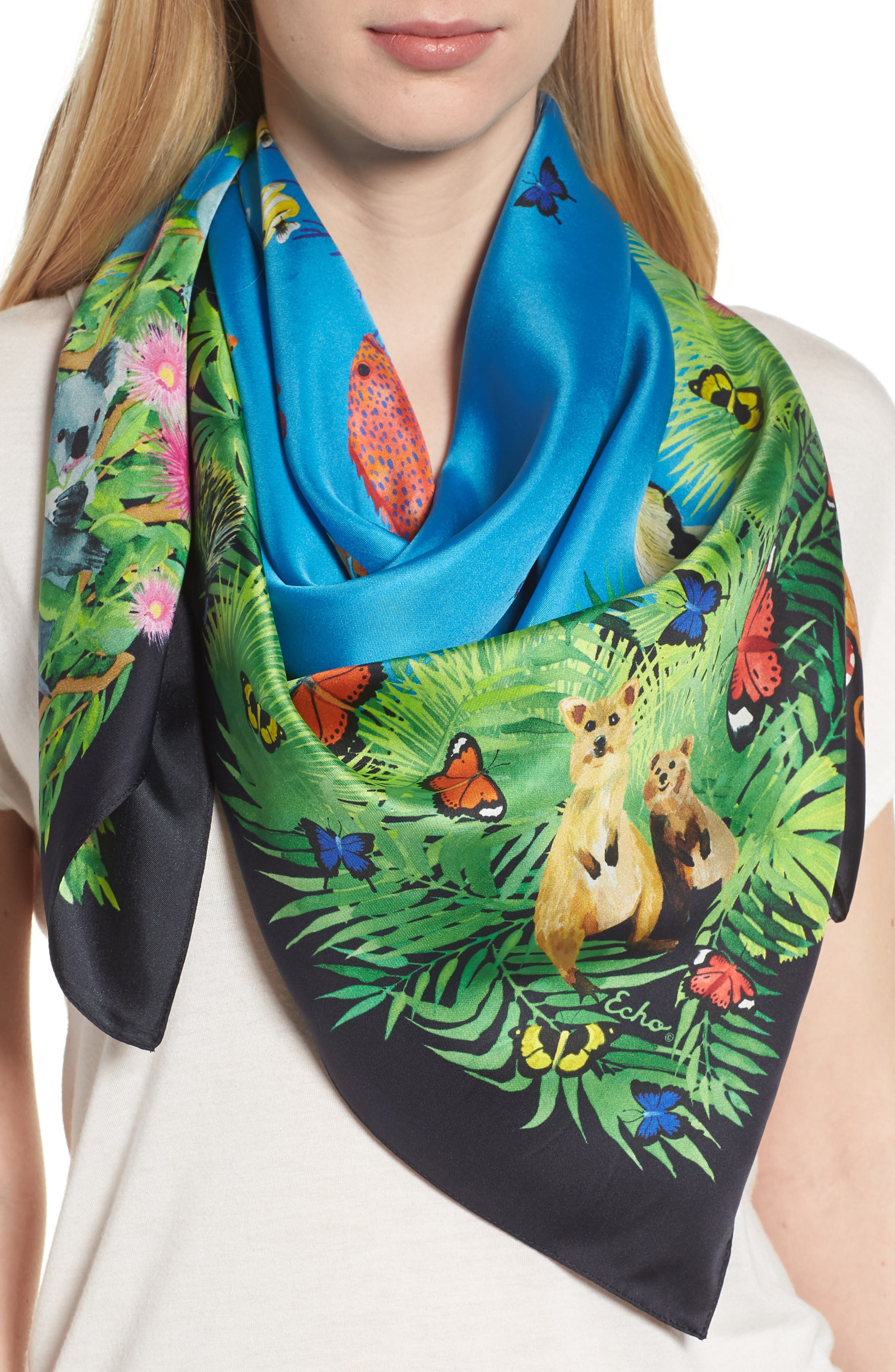 Down Under Silk Square Scarf,                         Main,                         color, Navy