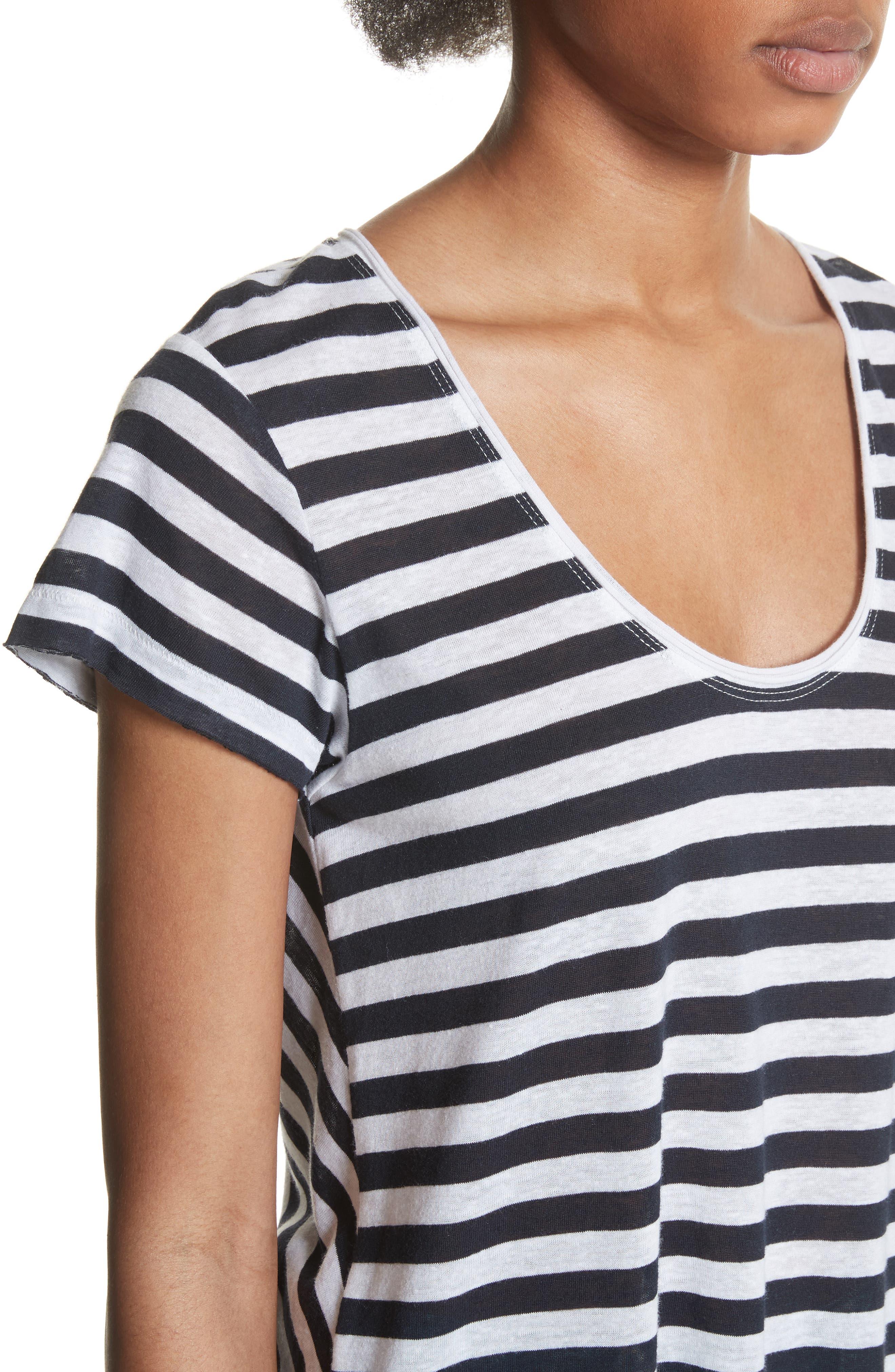 Laila Stripe Tee,                             Alternate thumbnail 4, color,                             Navy/ White