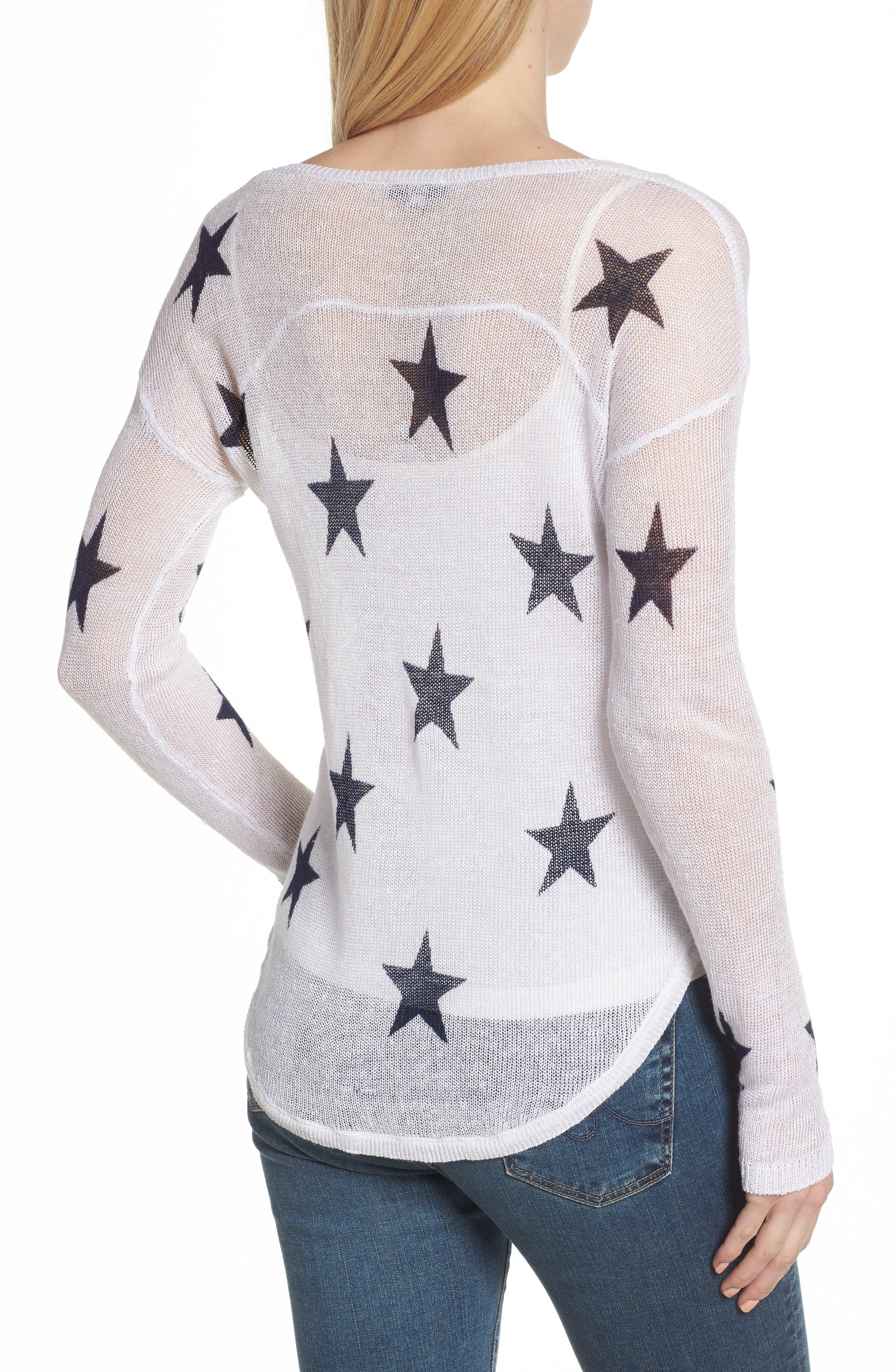 Perri Linen Sweater,                             Alternate thumbnail 2, color,                             White Navy Stars