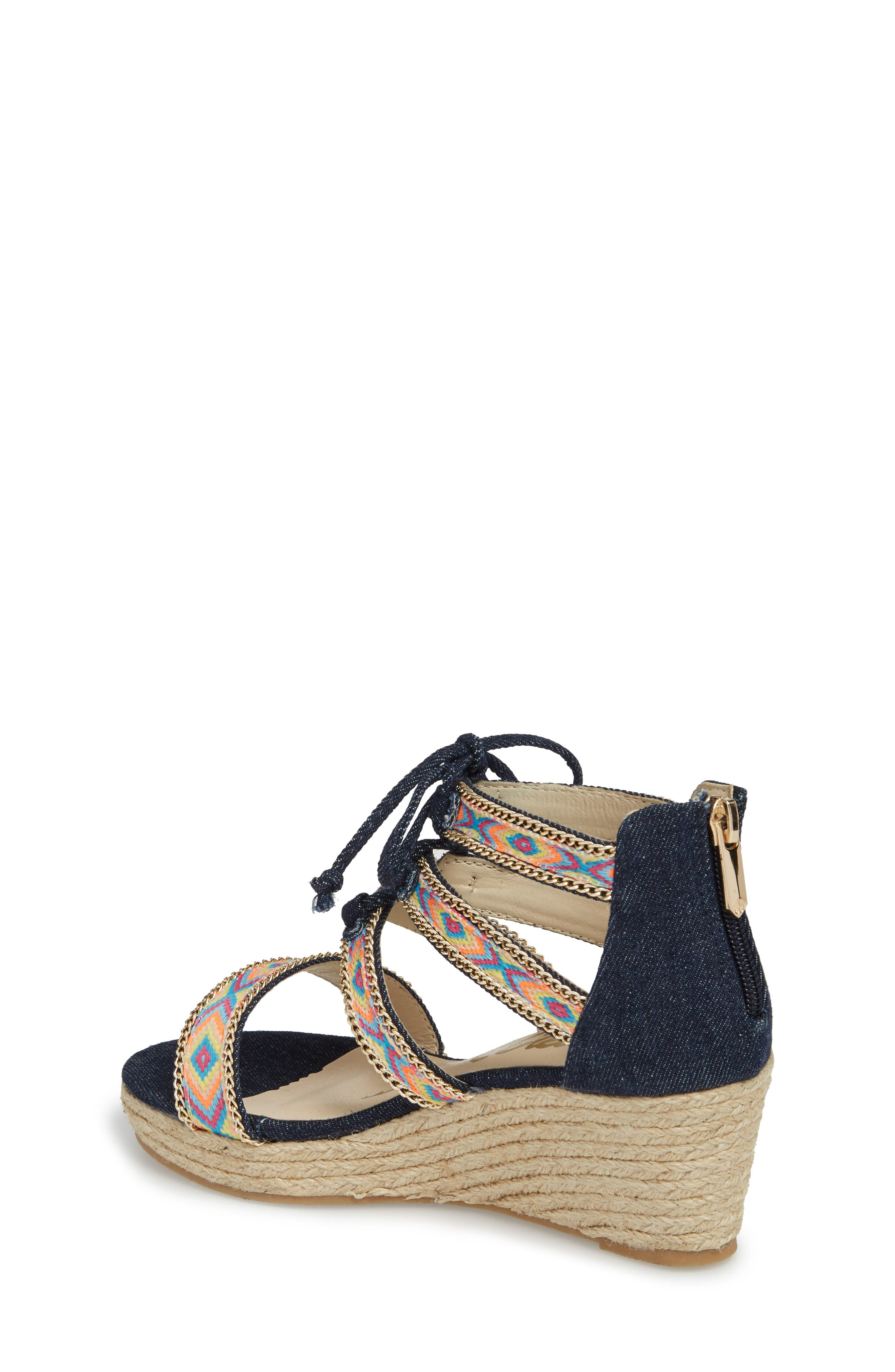 Elsie Dita Wedge Sandal,                             Alternate thumbnail 2, color,                             Dark Blue Fabric
