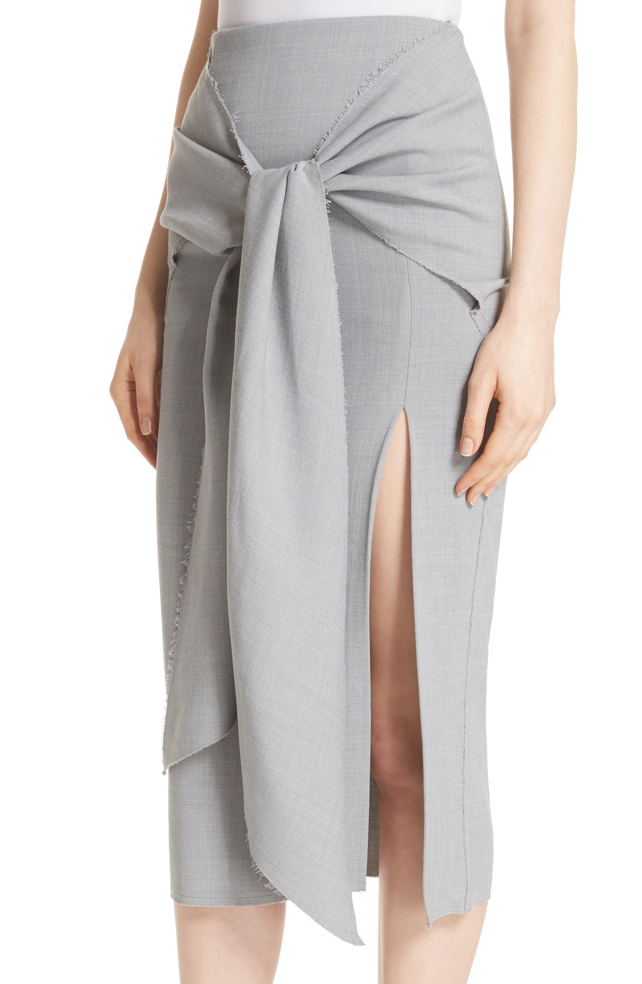 Raw Hem Tie Front Skirt,                             Alternate thumbnail 4, color,                             Light Grey Melange