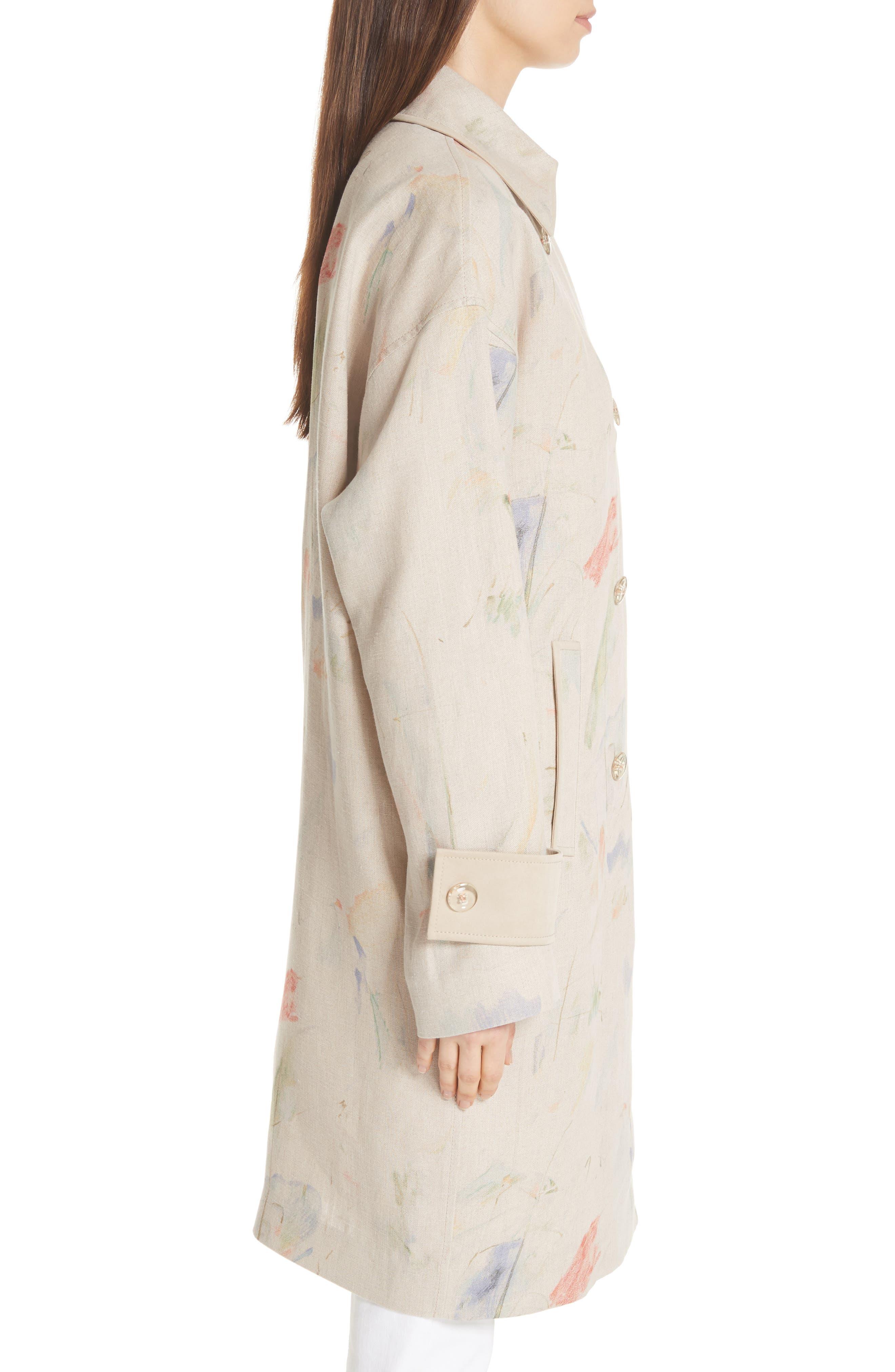 Laurita Linen Trench Coat,                             Alternate thumbnail 3, color,                             Soba Multi
