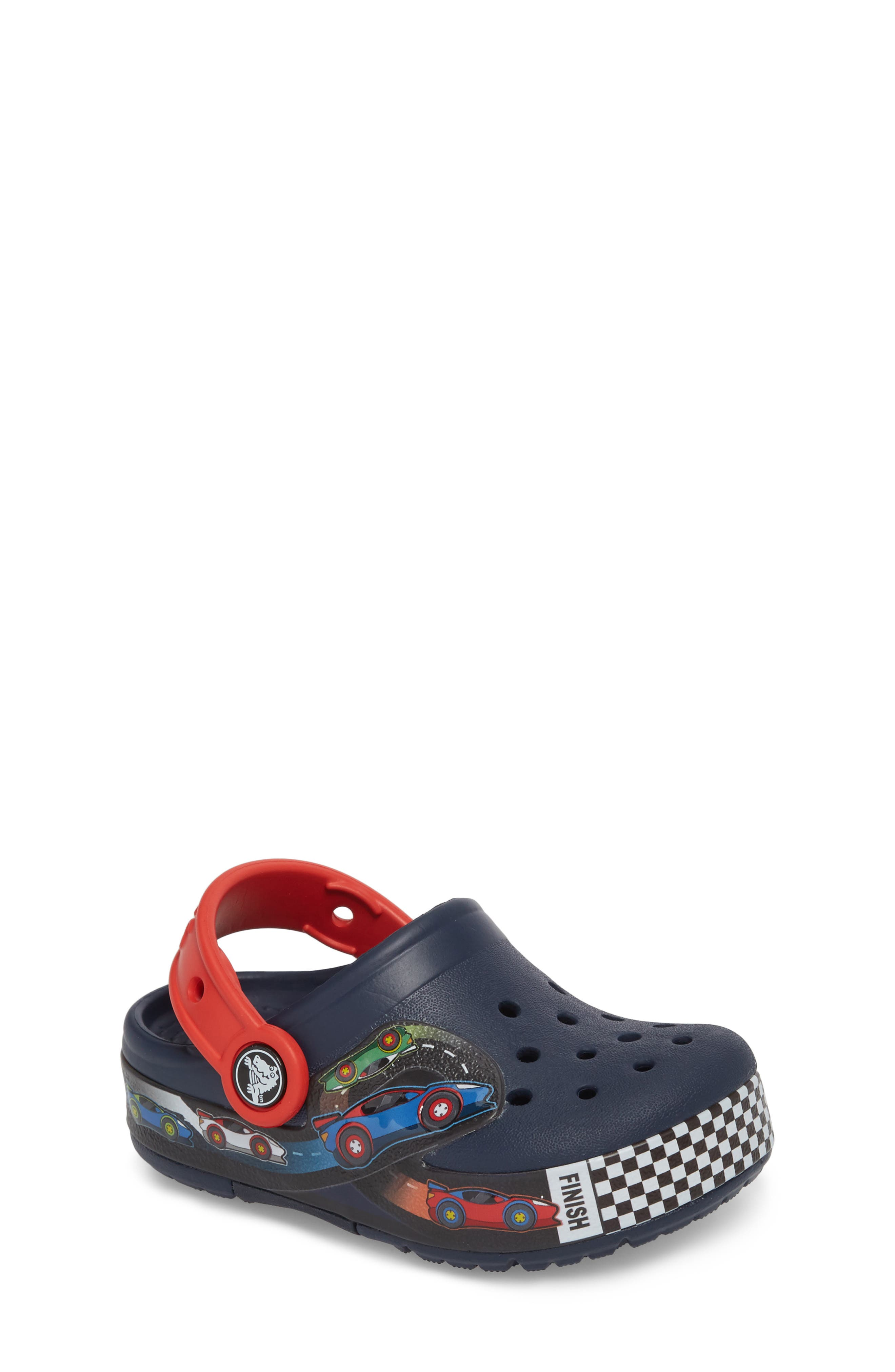 Crocband Fun Lab Light-Up Slip-On,                         Main,                         color, Navy