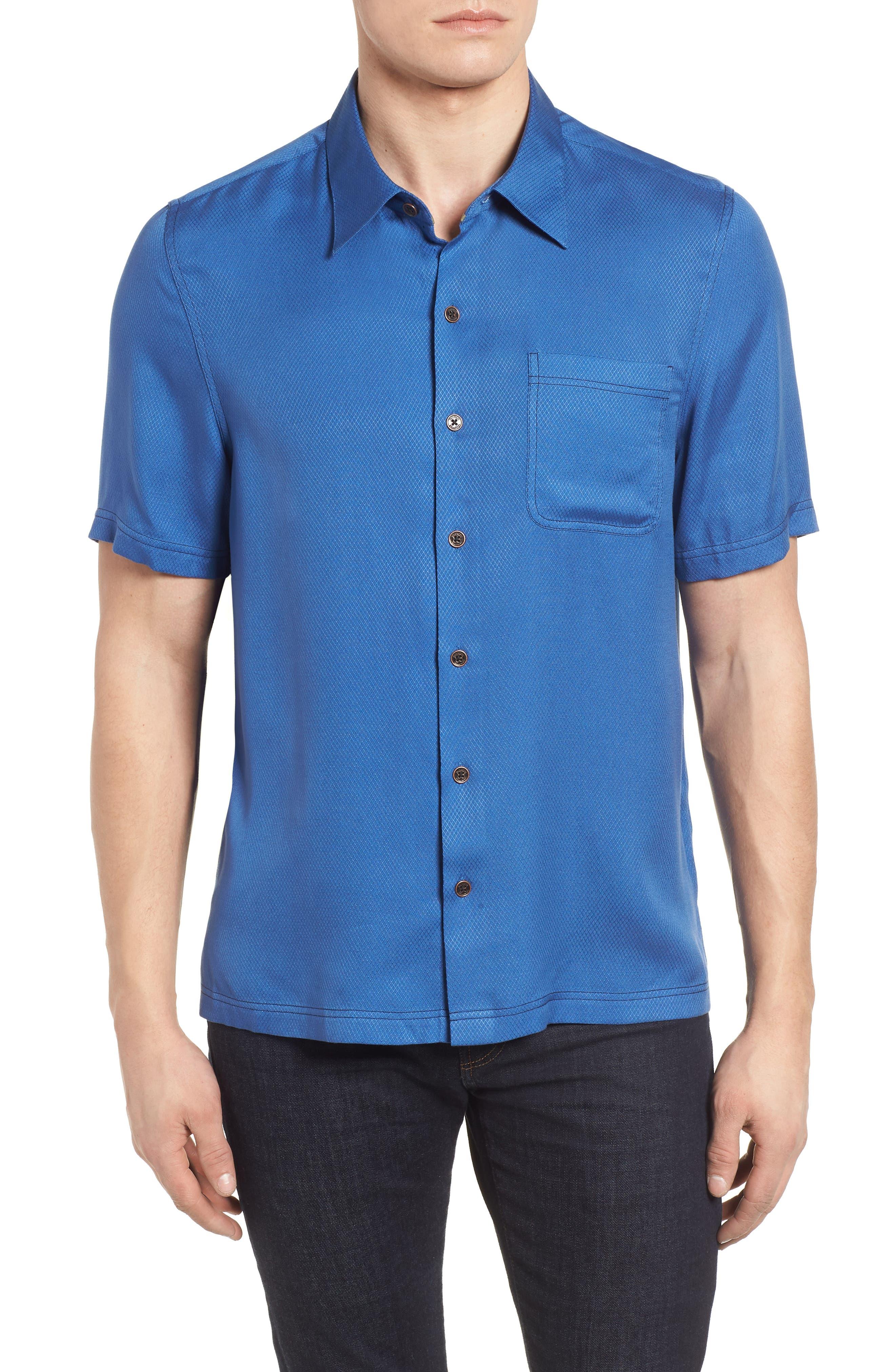 'Honeycomb' Regular Fit Short Sleeve Textured Sport Shirt,                         Main,                         color, Cobalt