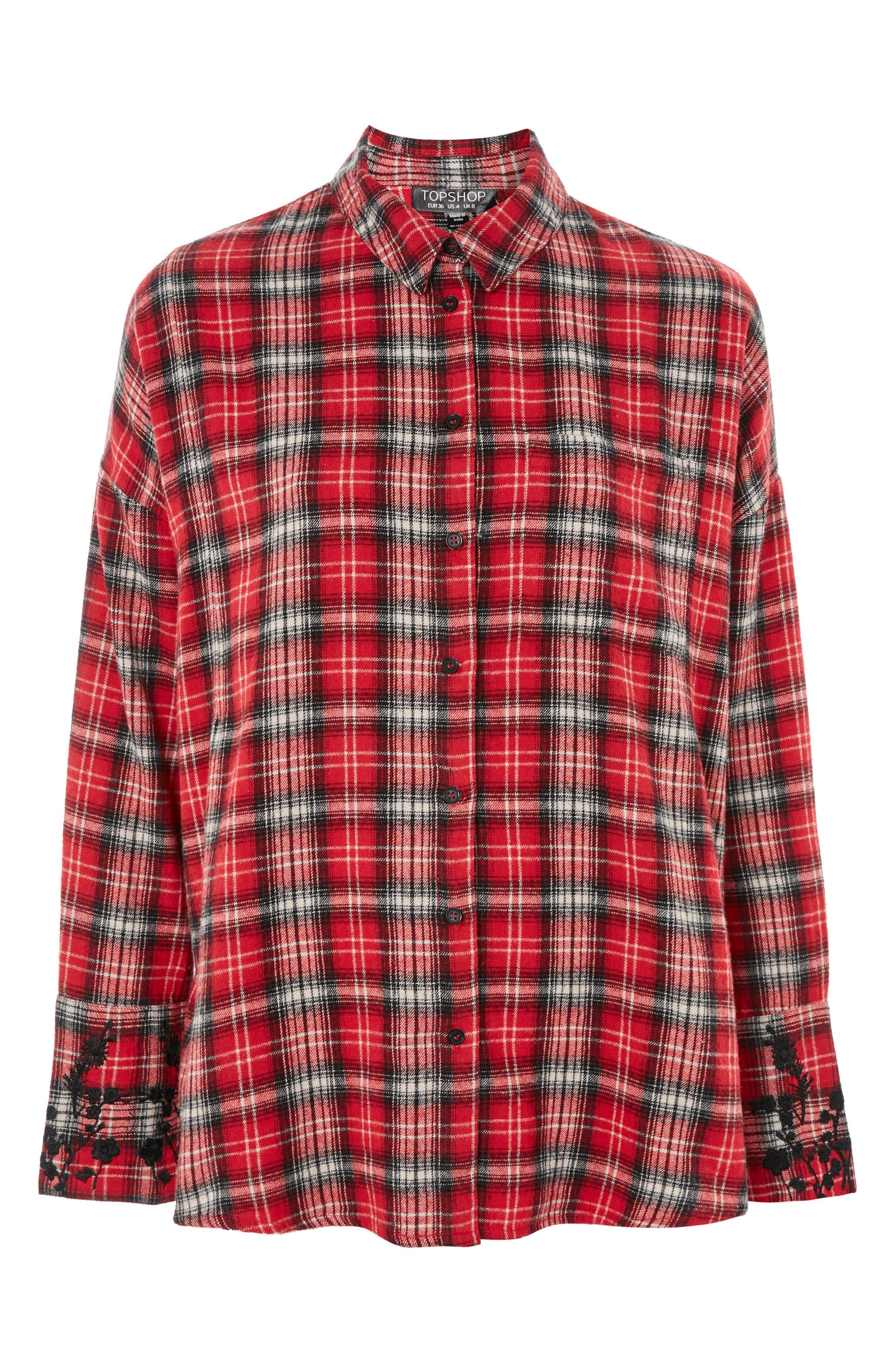 Falling Floral Plaid Shirt,                             Alternate thumbnail 4, color,                             Red Multi