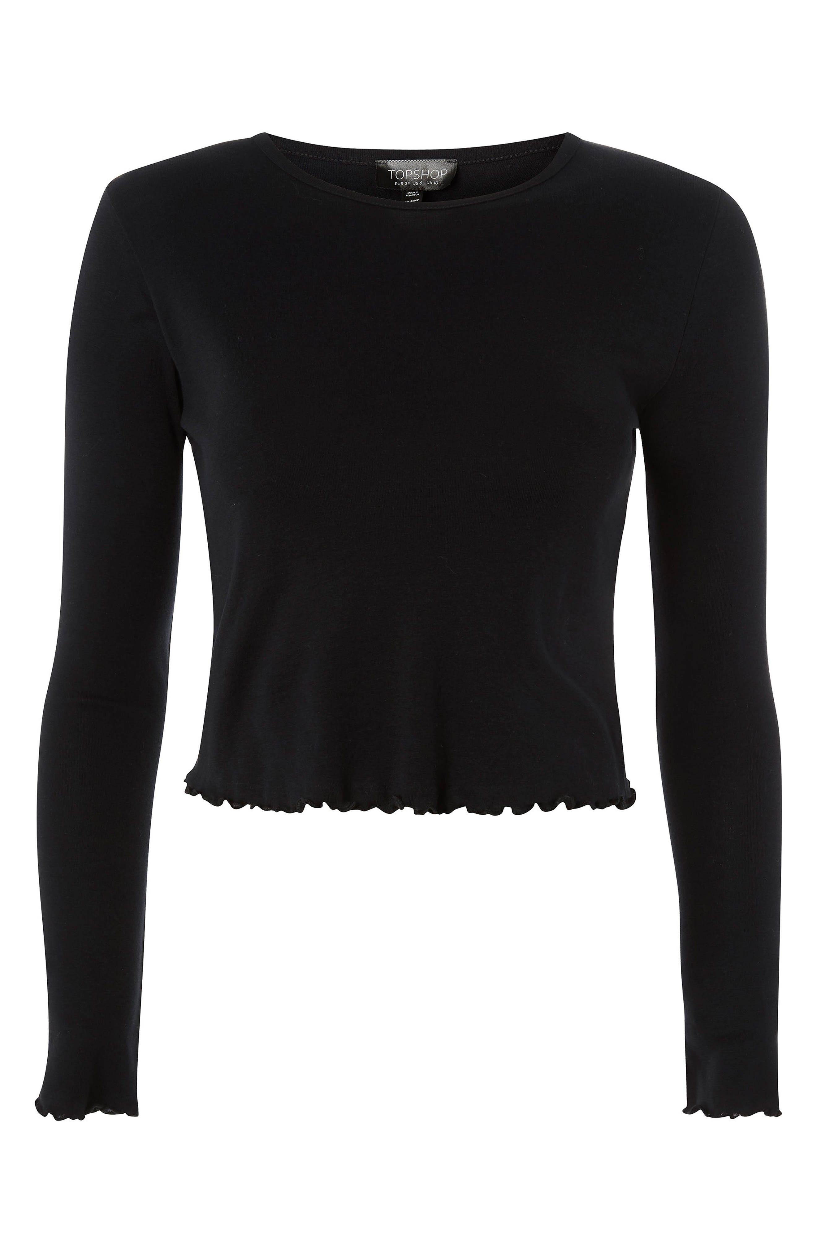 Petite Lettuce Crop Top,                             Alternate thumbnail 3, color,                             Black