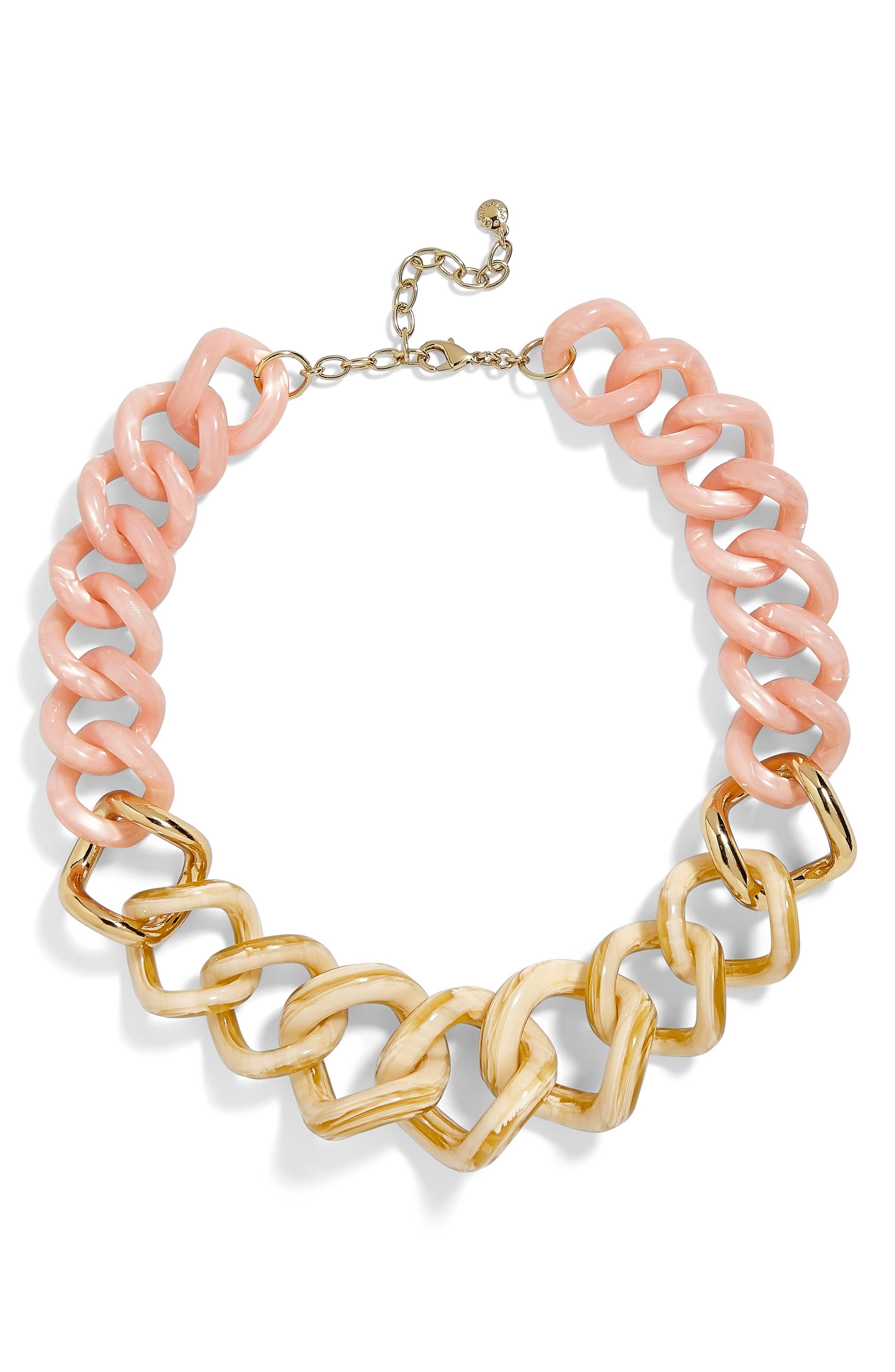 Francina Large Acrylic Link Necklace,                         Main,                         color, Blush