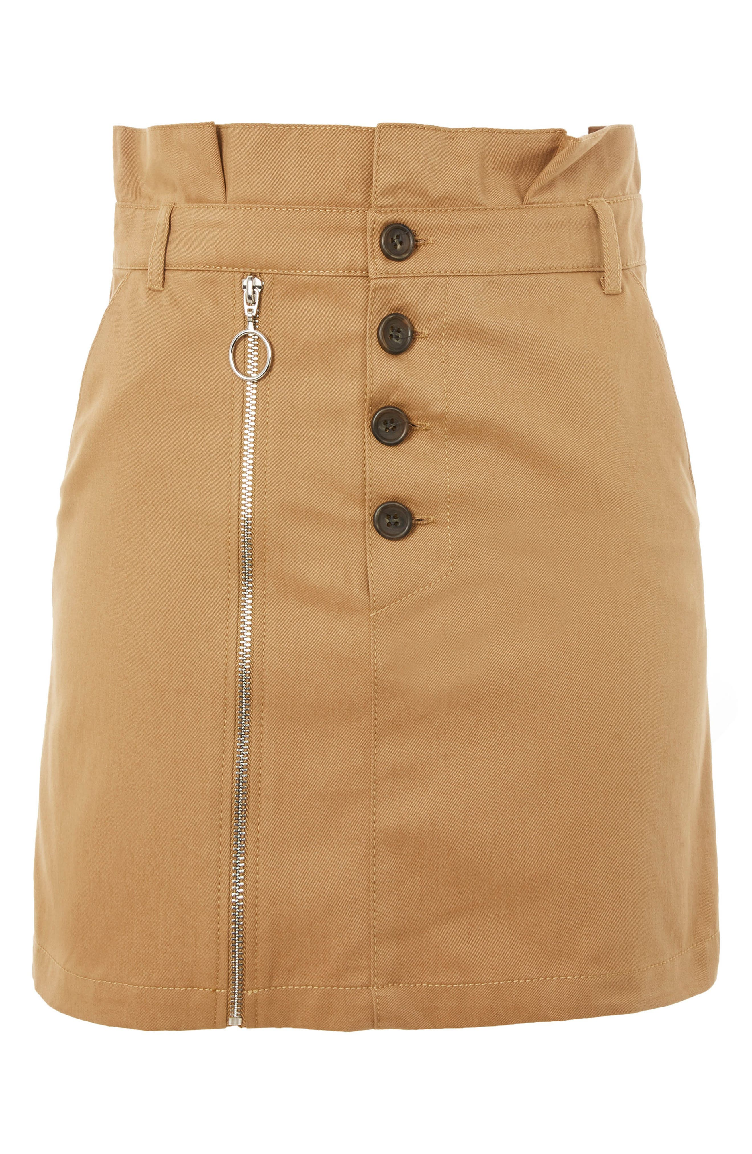 Utility Button Miniskirt,                             Alternate thumbnail 4, color,                             Camel