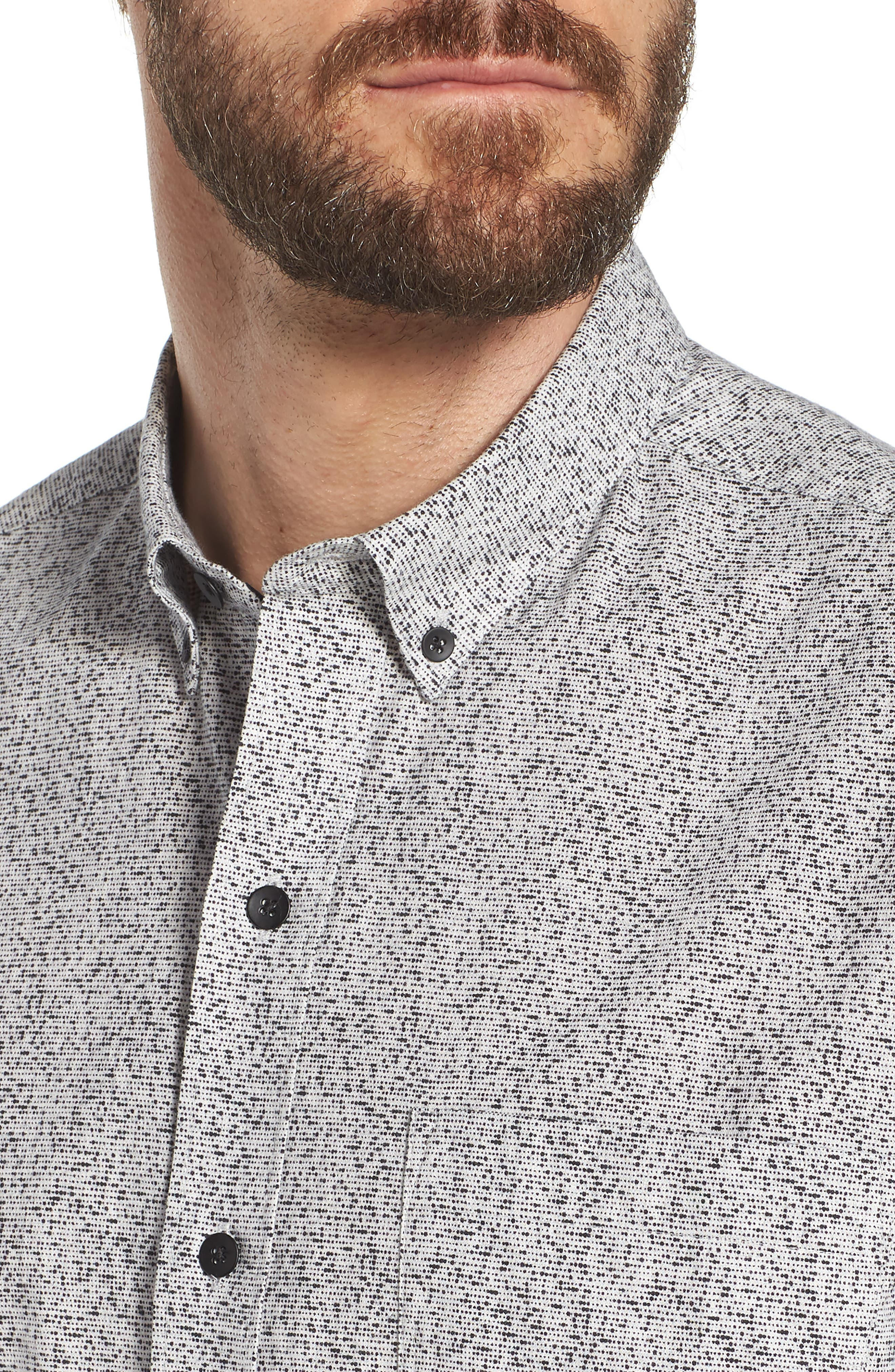 Rework Slim Fit Dot Print Sport Shirt,                             Alternate thumbnail 4, color,                             Black