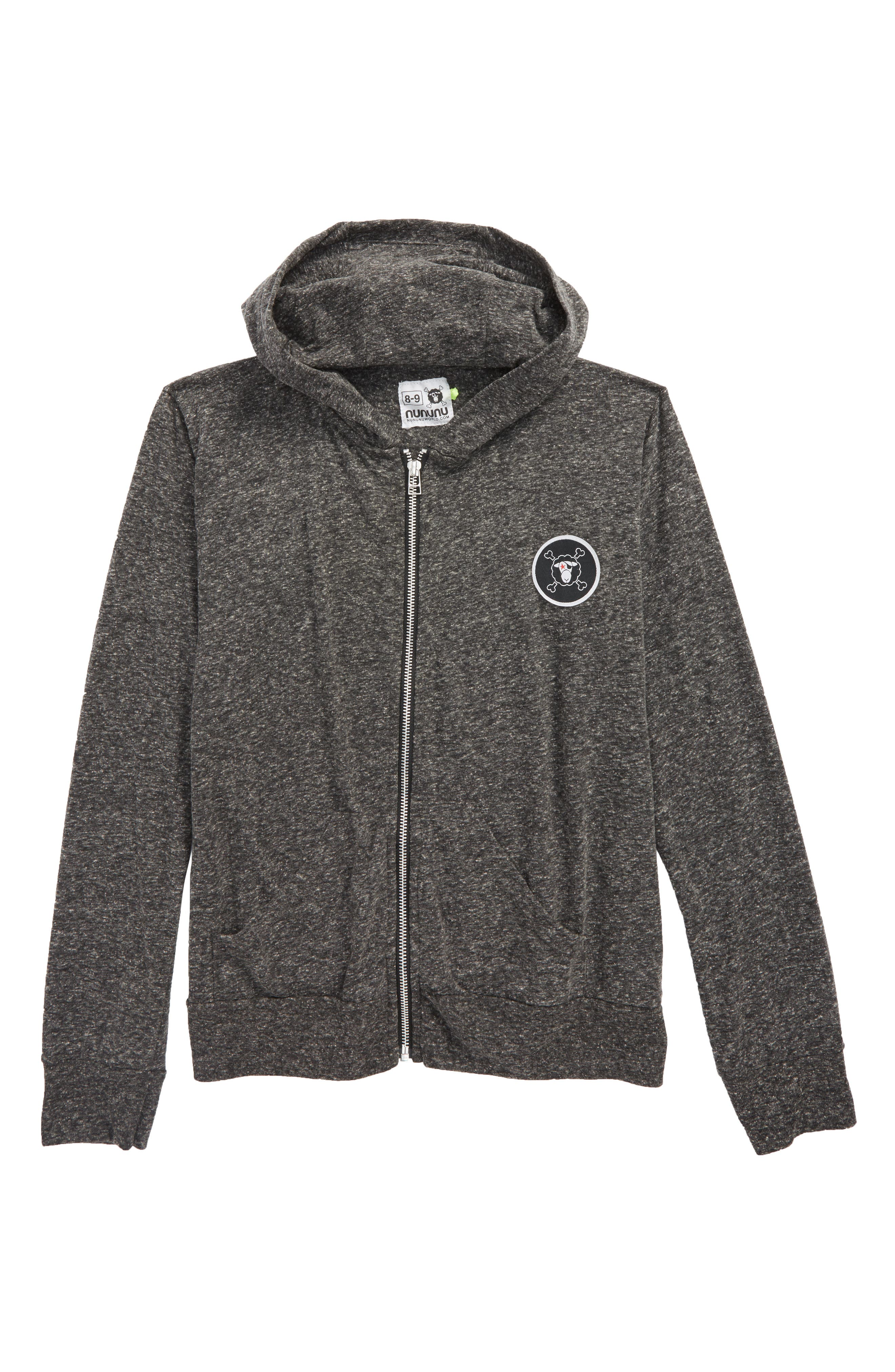 Logo Patch Zip Front Hoodie,                         Main,                         color, Charcoal