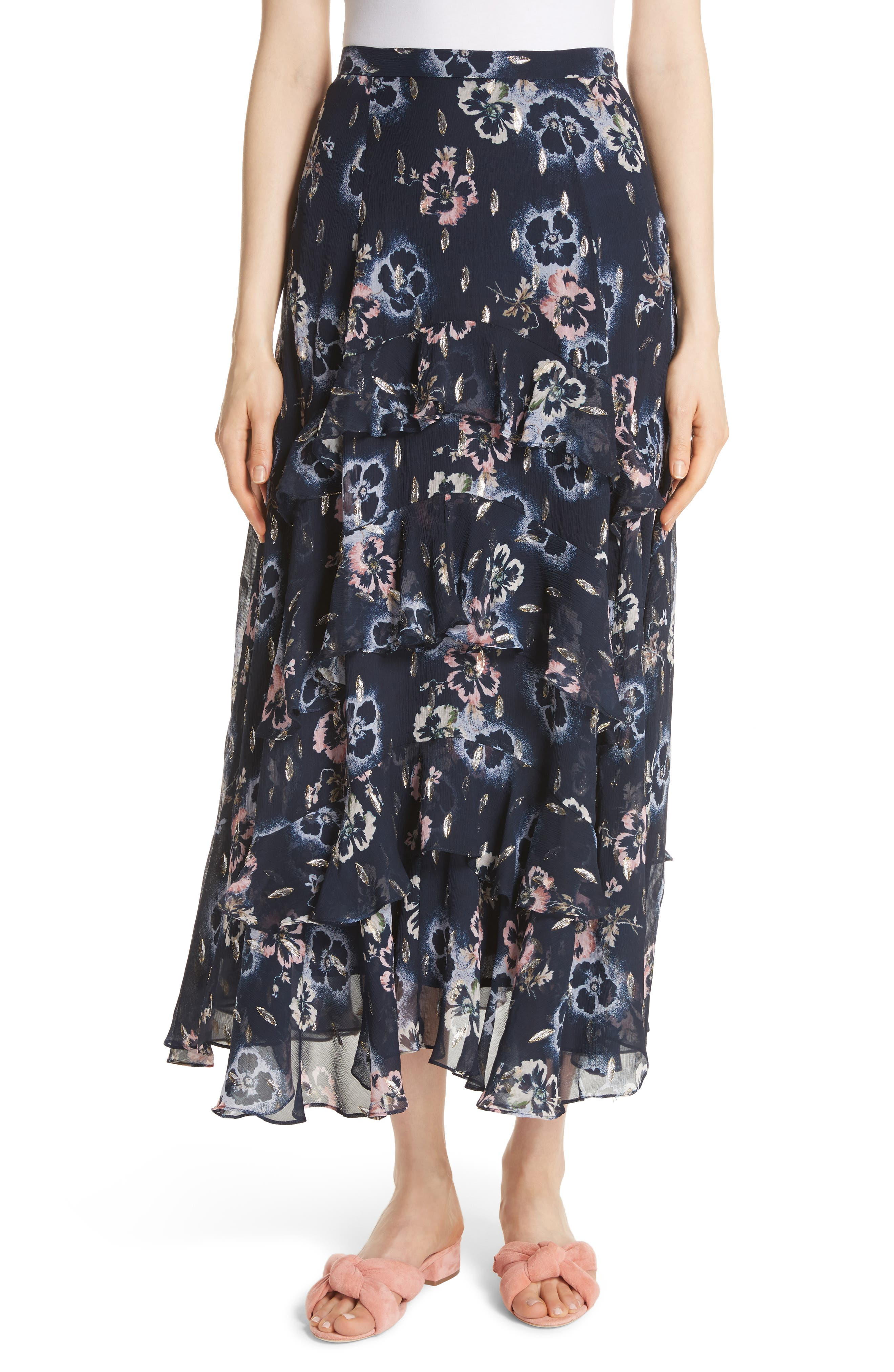 Faded Floral Midi Skirt,                         Main,                         color, Navy