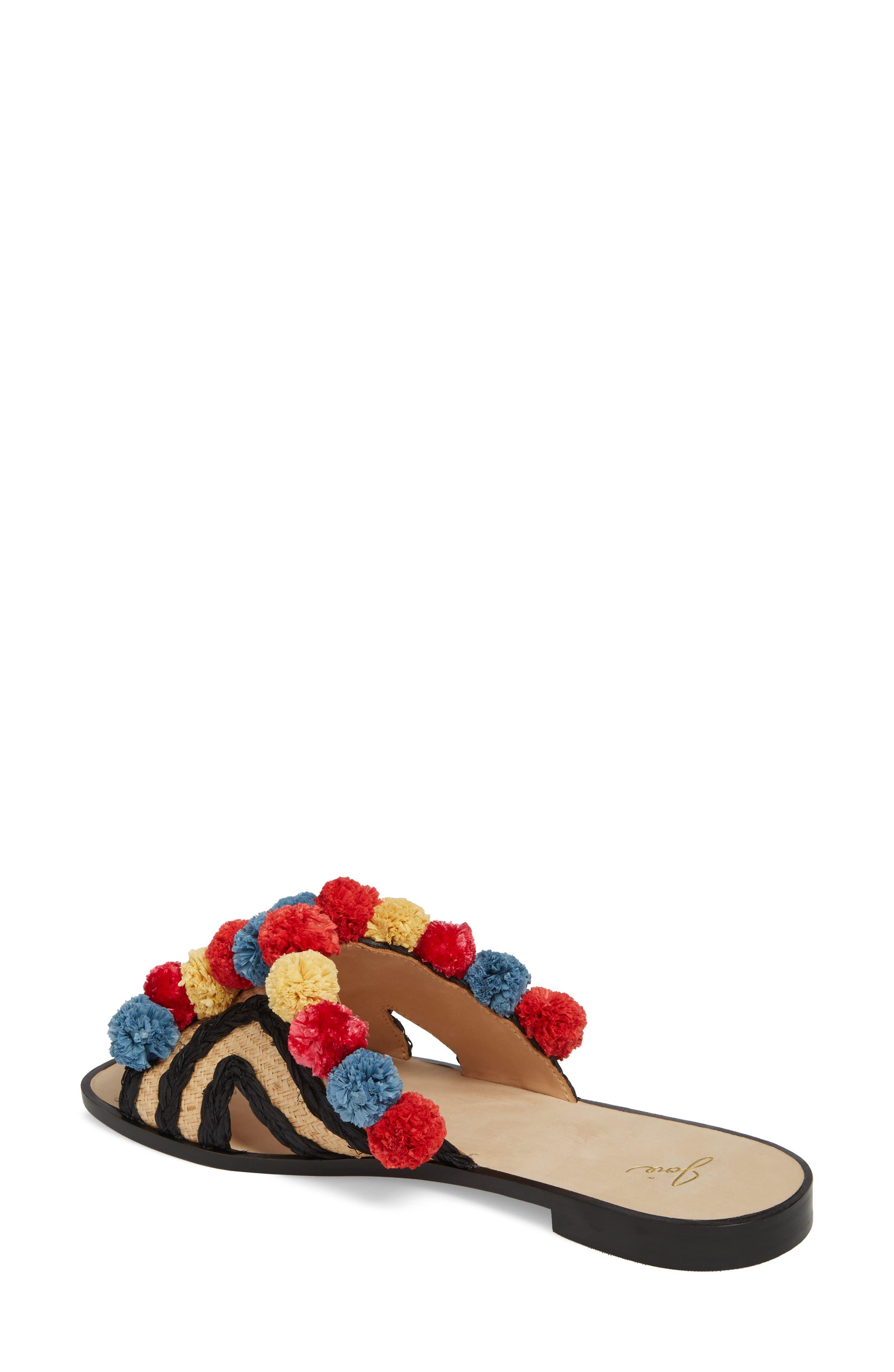 Paden Pompom Slide Sandals,                             Alternate thumbnail 2, color,                             Multi