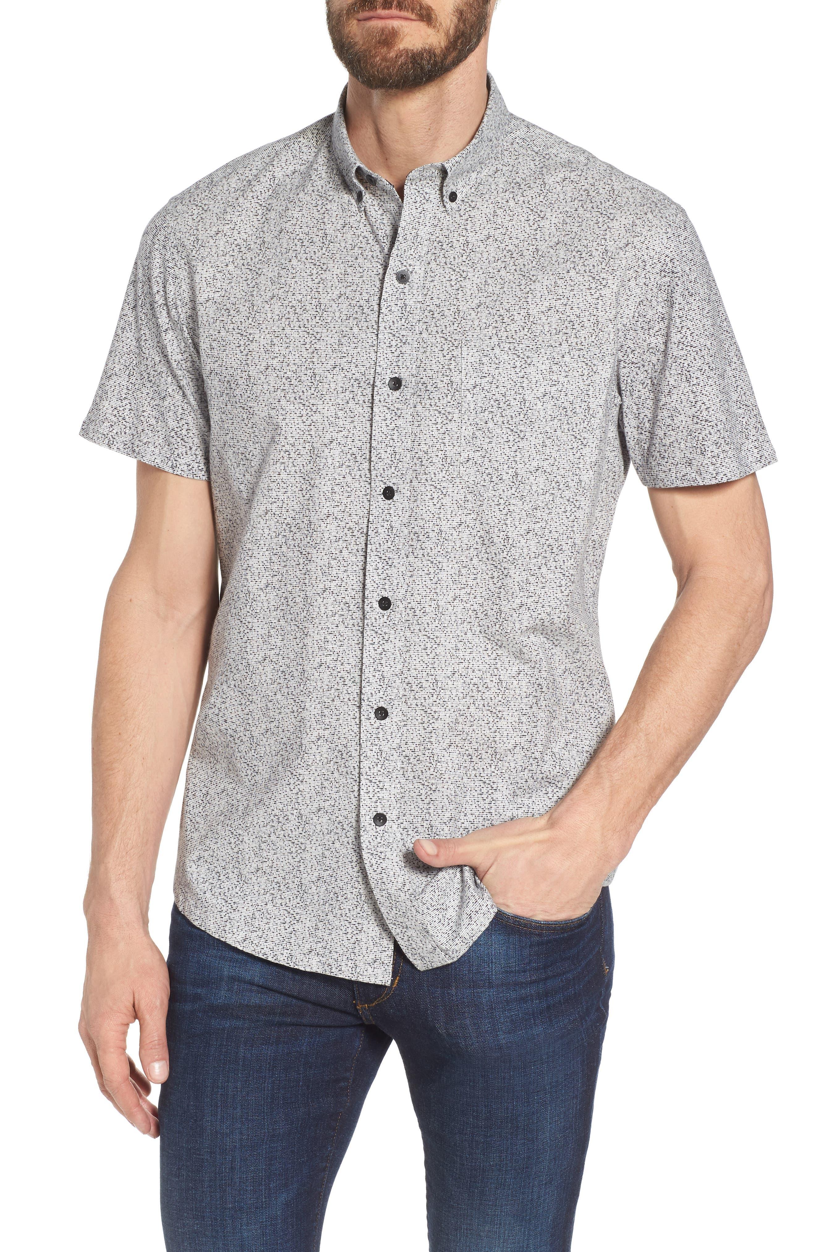 Rework Slim Fit Dot Print Sport Shirt,                             Main thumbnail 1, color,                             Black