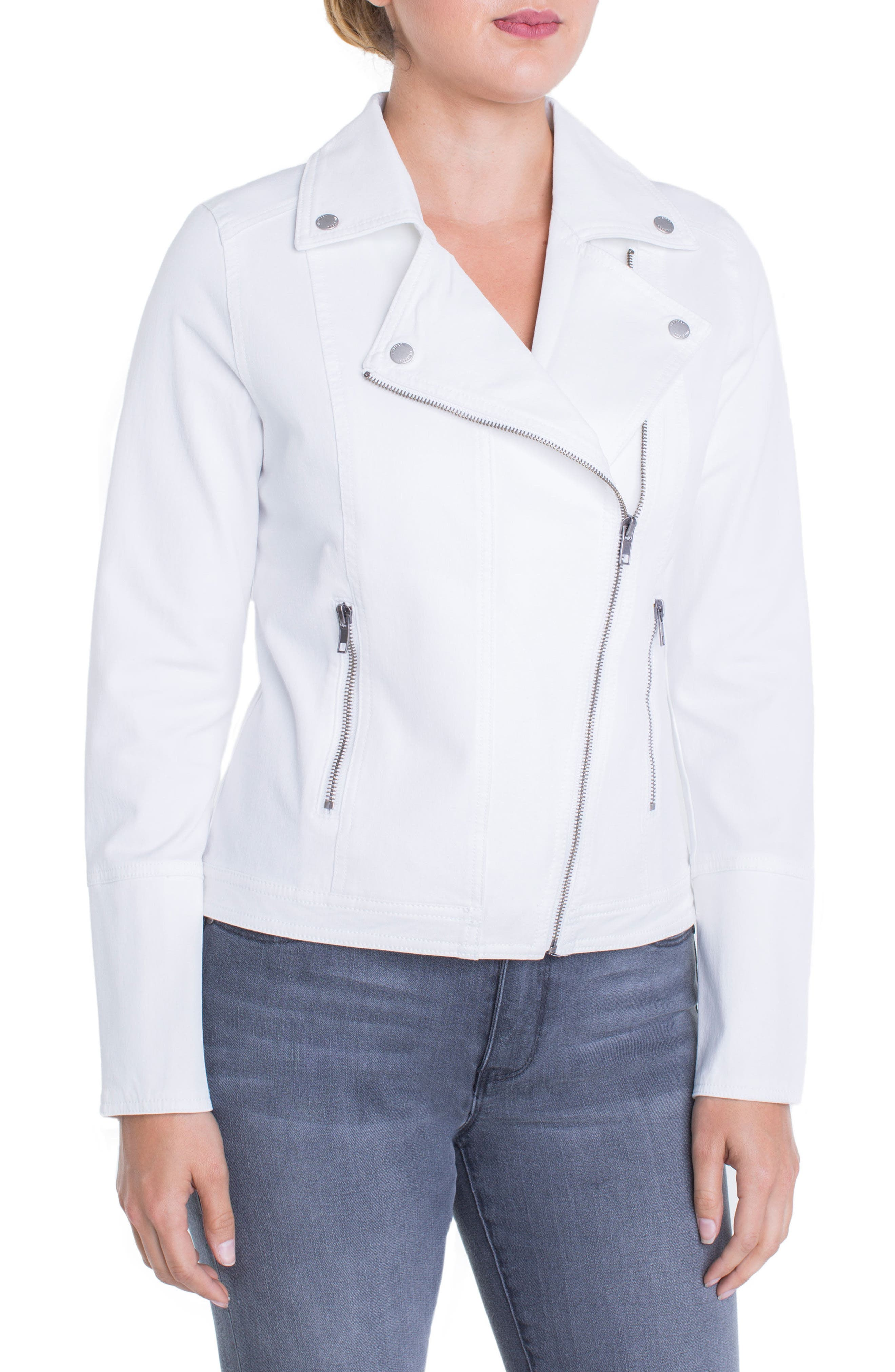 Stretch Cotton Moto Jacket,                             Main thumbnail 1, color,                             Bright White