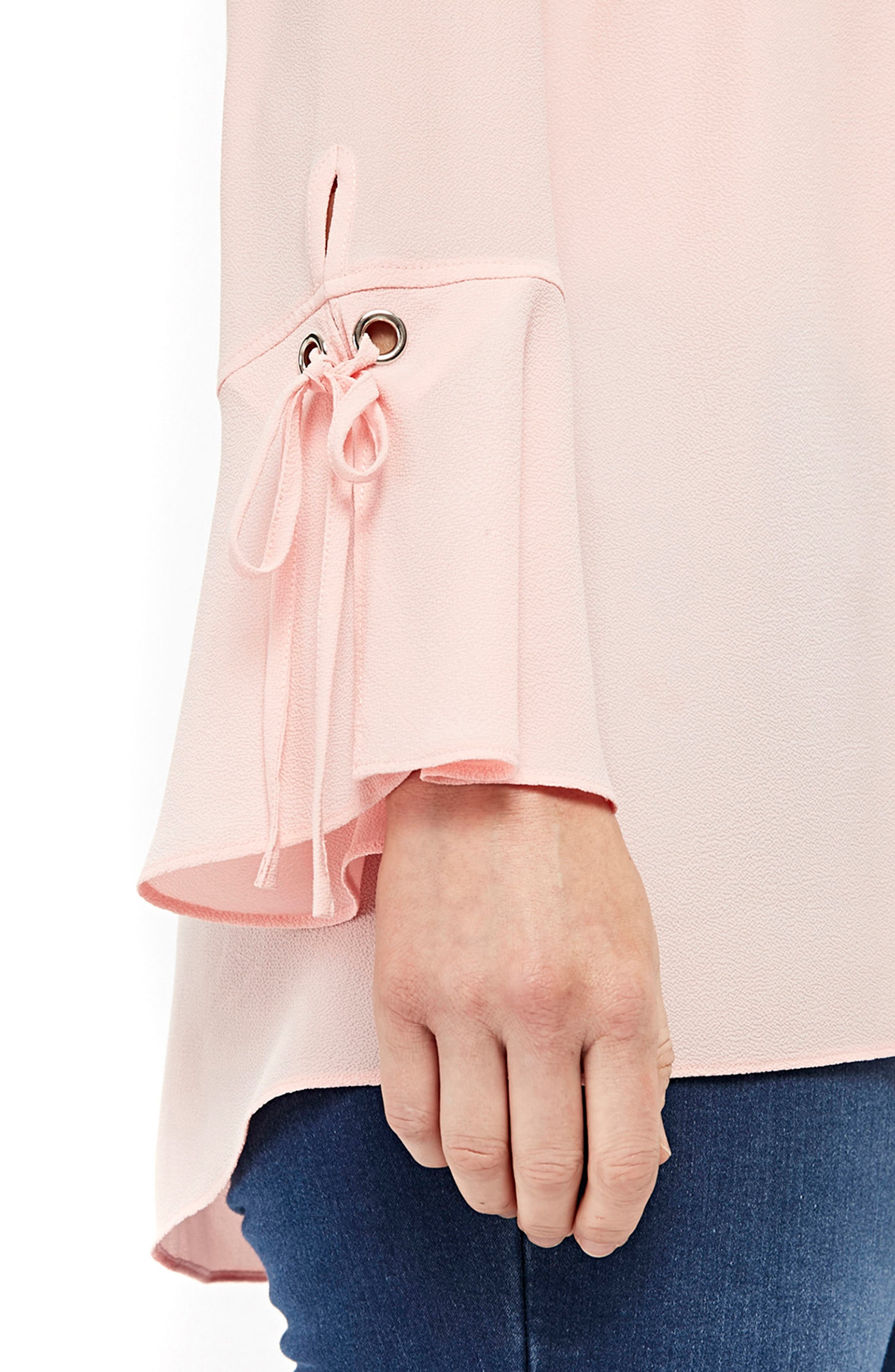 Lace-Up Cuff Shirt,                             Alternate thumbnail 3, color,                             Pale Pink