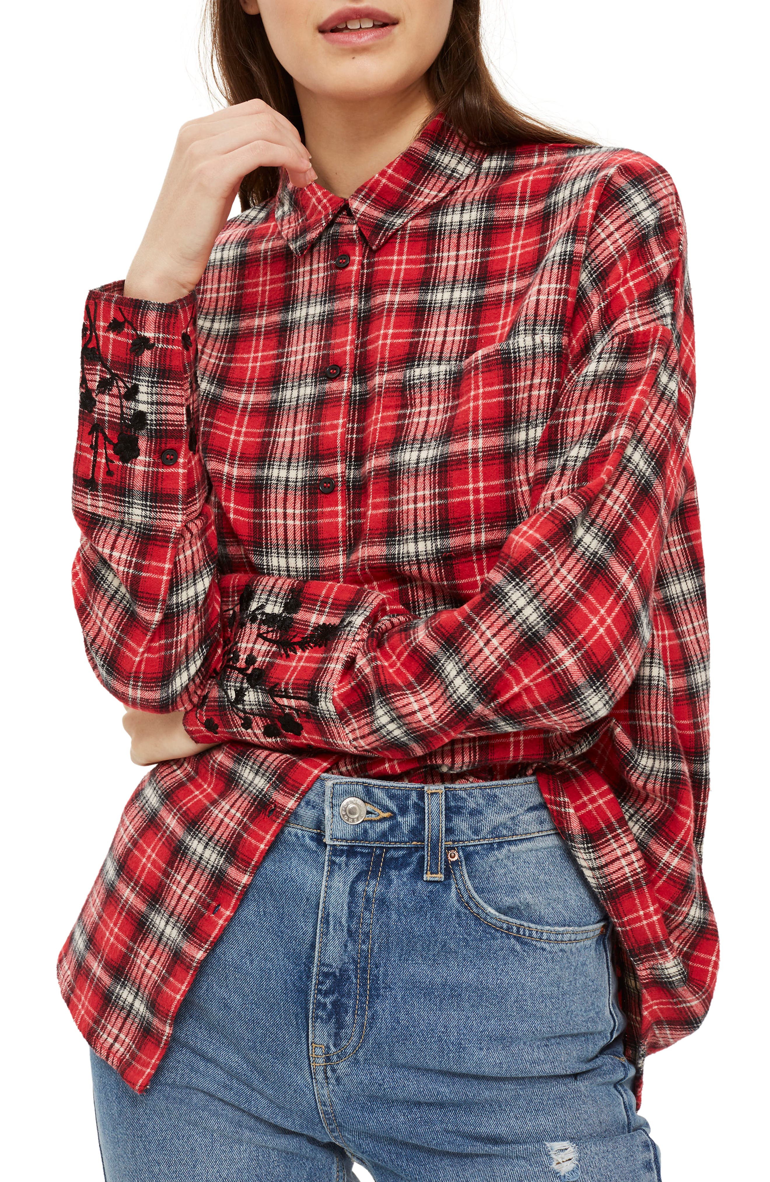 Falling Floral Plaid Shirt,                         Main,                         color, Red Multi