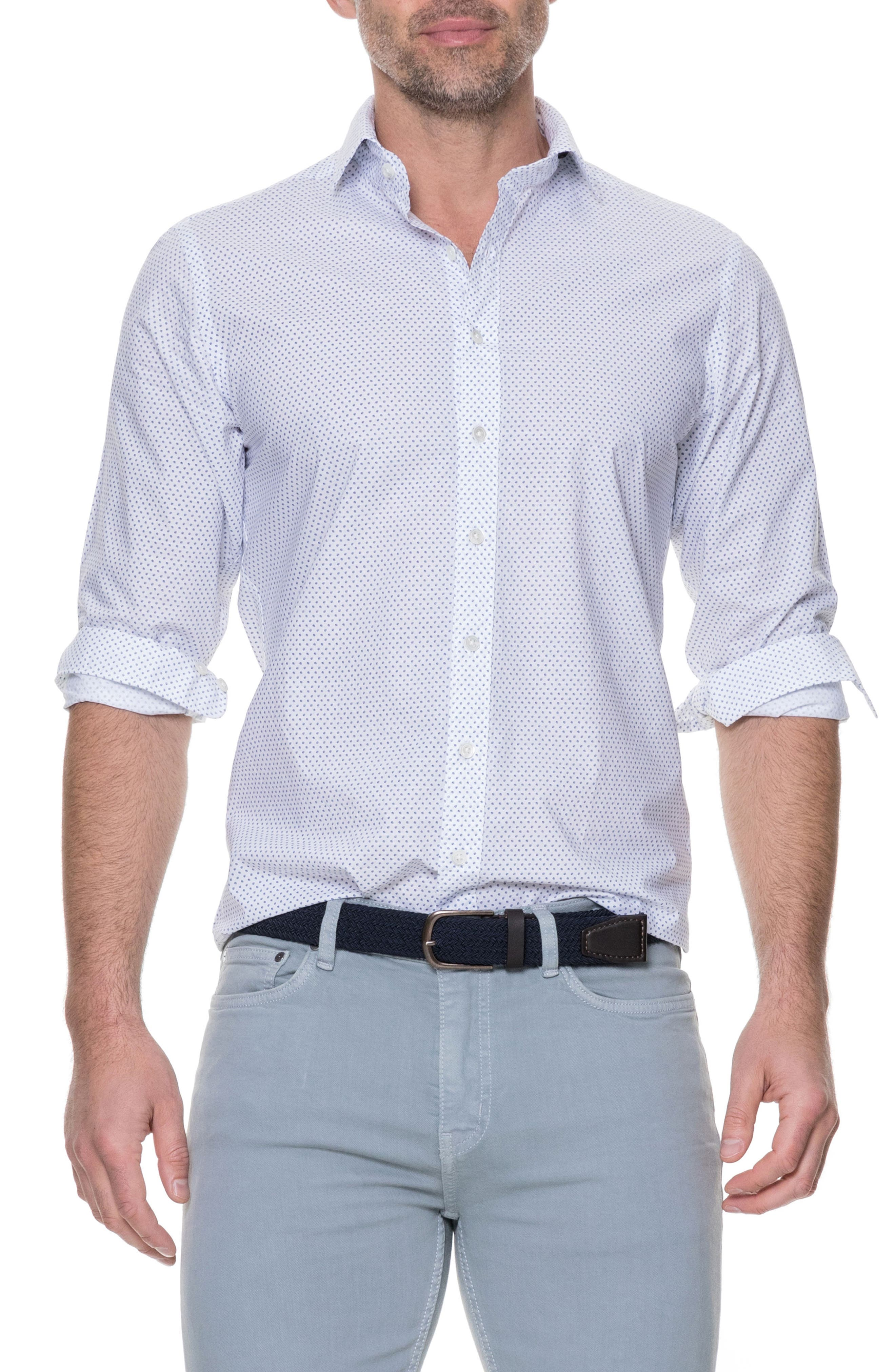 Butler Point Slim Fit Sport Shirt,                             Main thumbnail 1, color,                             Snow