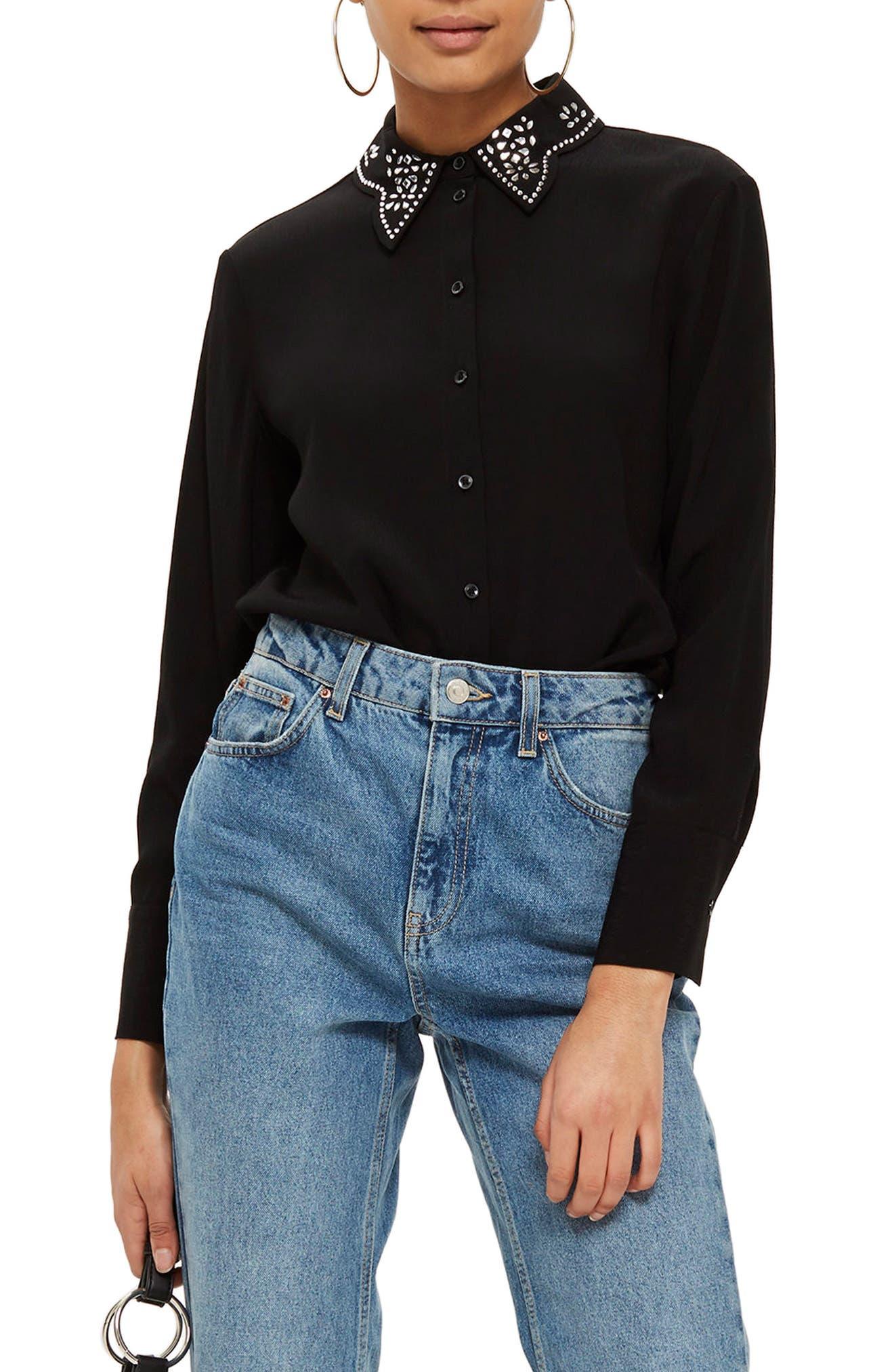 Gem Collar Blouse,                         Main,                         color, Black