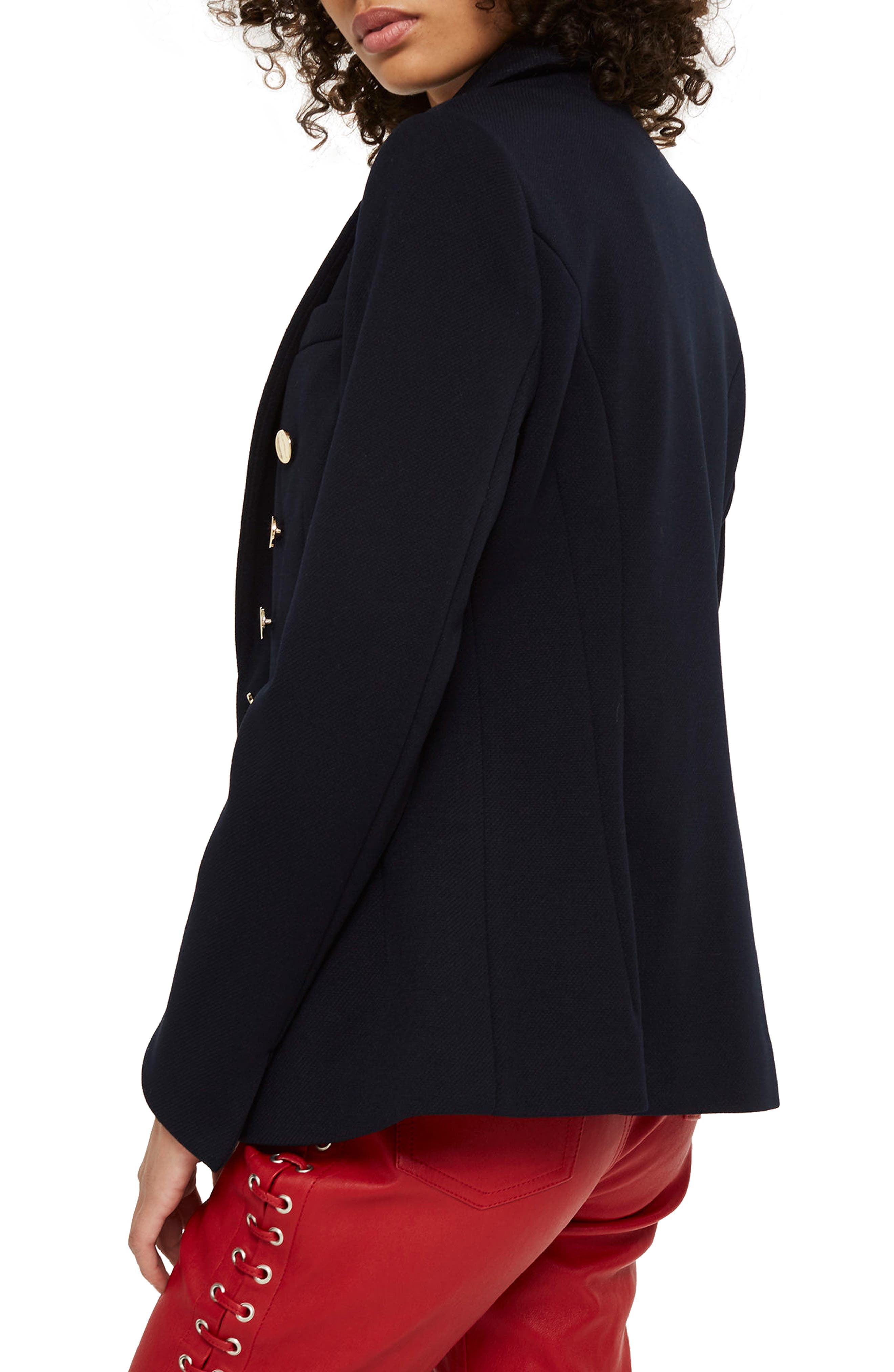 Golden Button Double Breasted Jacket,                             Alternate thumbnail 3, color,                             Navy Blue