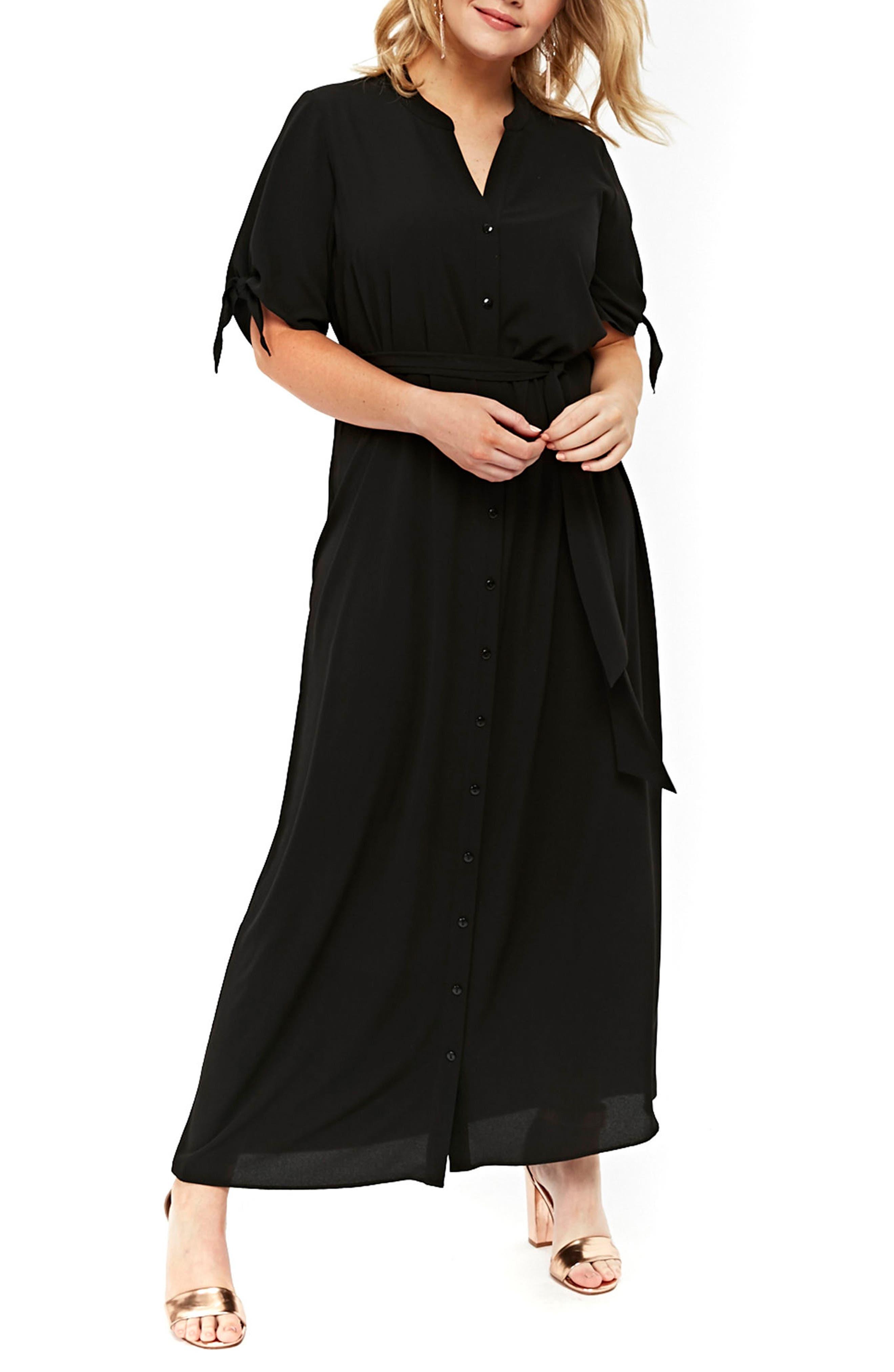 Tie Sleeve Maxi Shirtdress,                         Main,                         color, Black