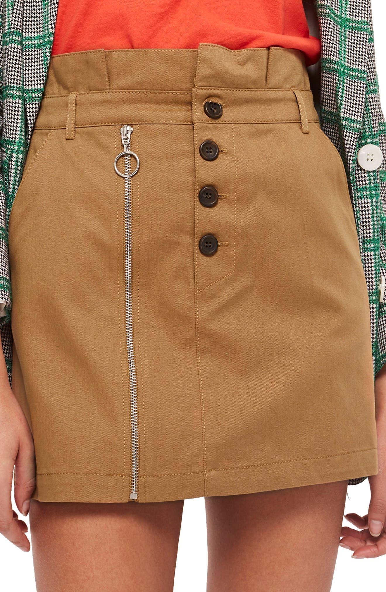 Utility Button Miniskirt,                             Main thumbnail 1, color,                             Camel
