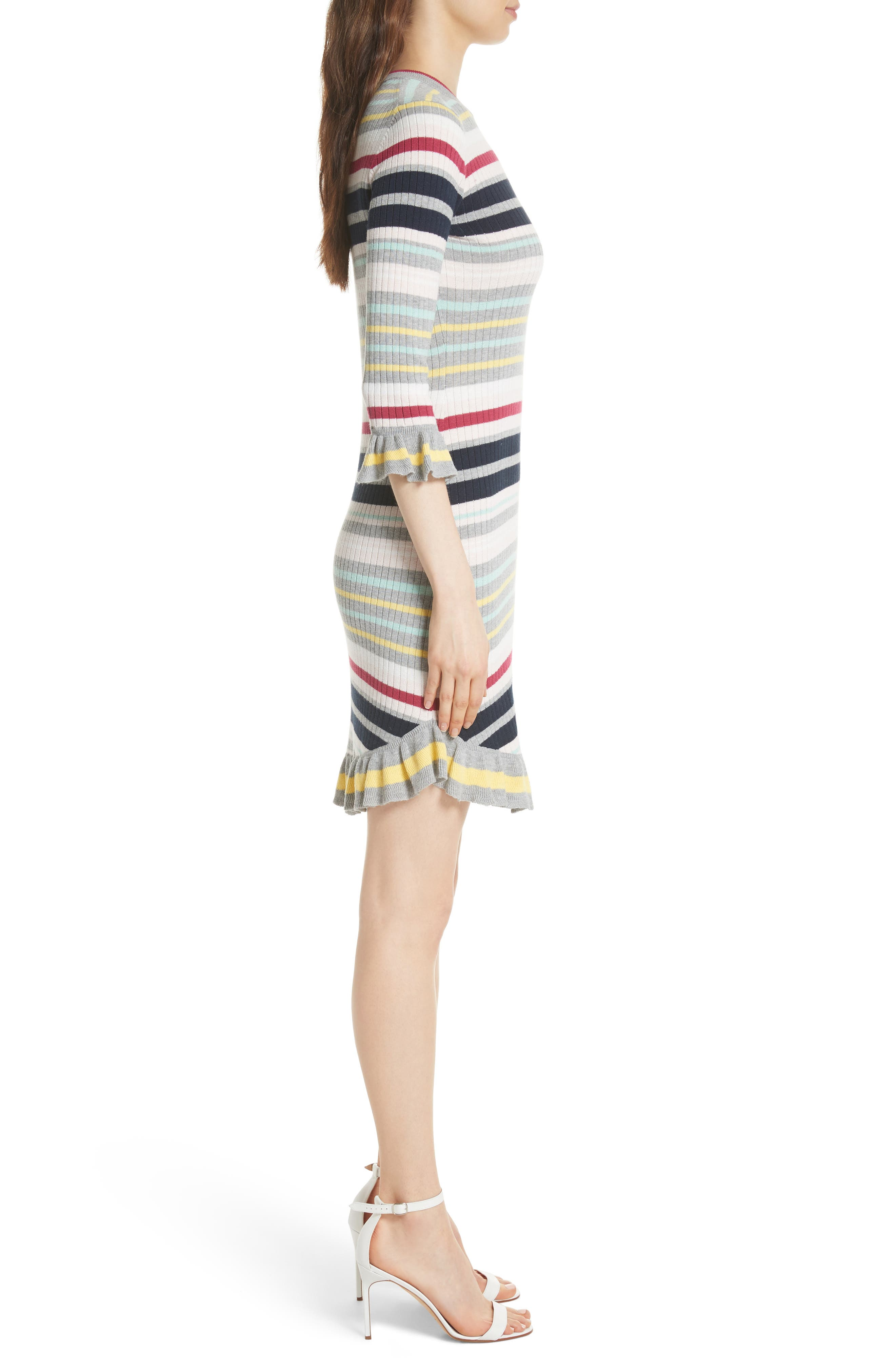 Colour by Numbers Stripe Sweater Dress,                             Alternate thumbnail 3, color,                             Grey