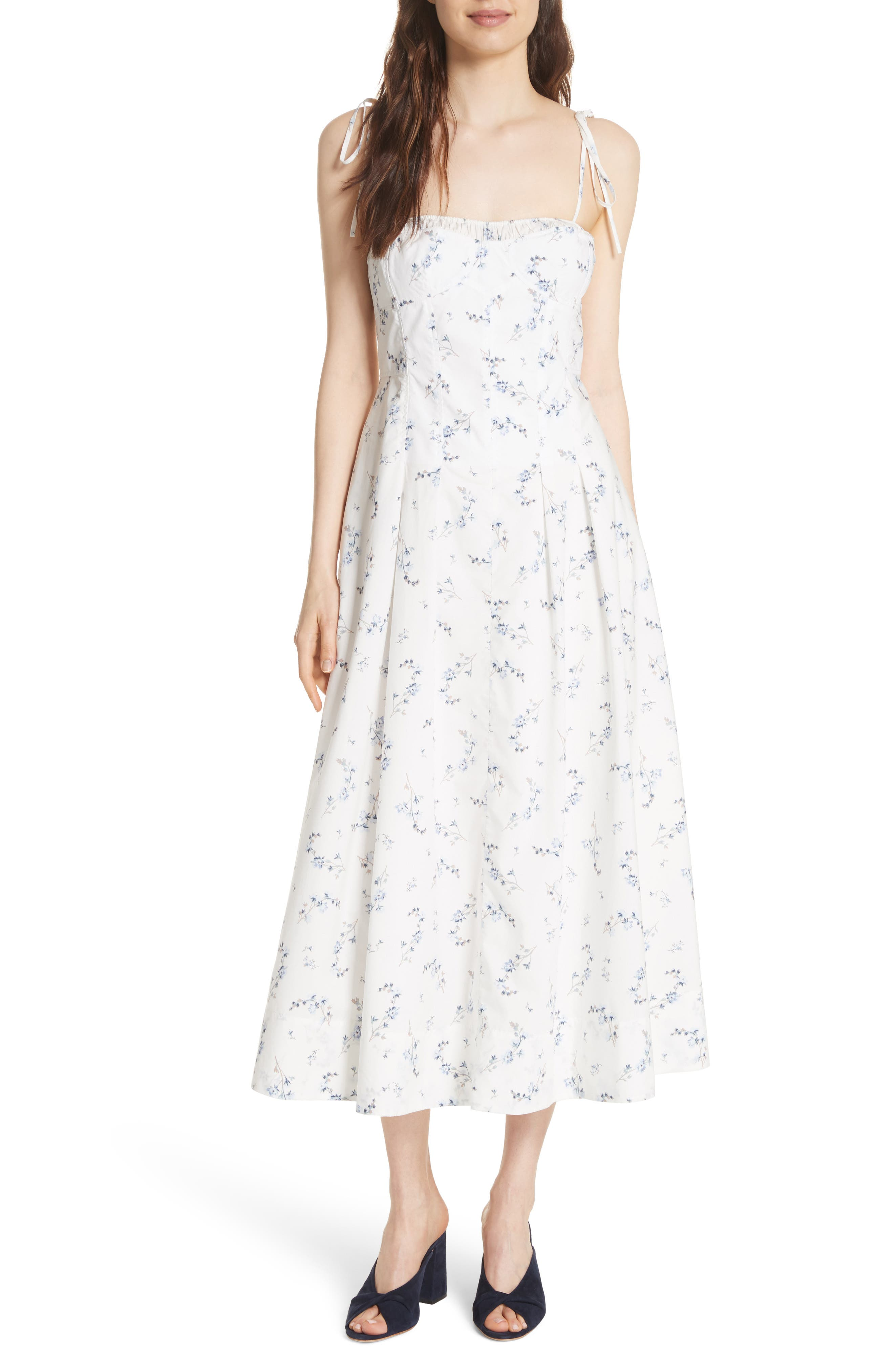 Francine Floral Cotton Poplin Dress,                             Main thumbnail 1, color,                             Snow Combo