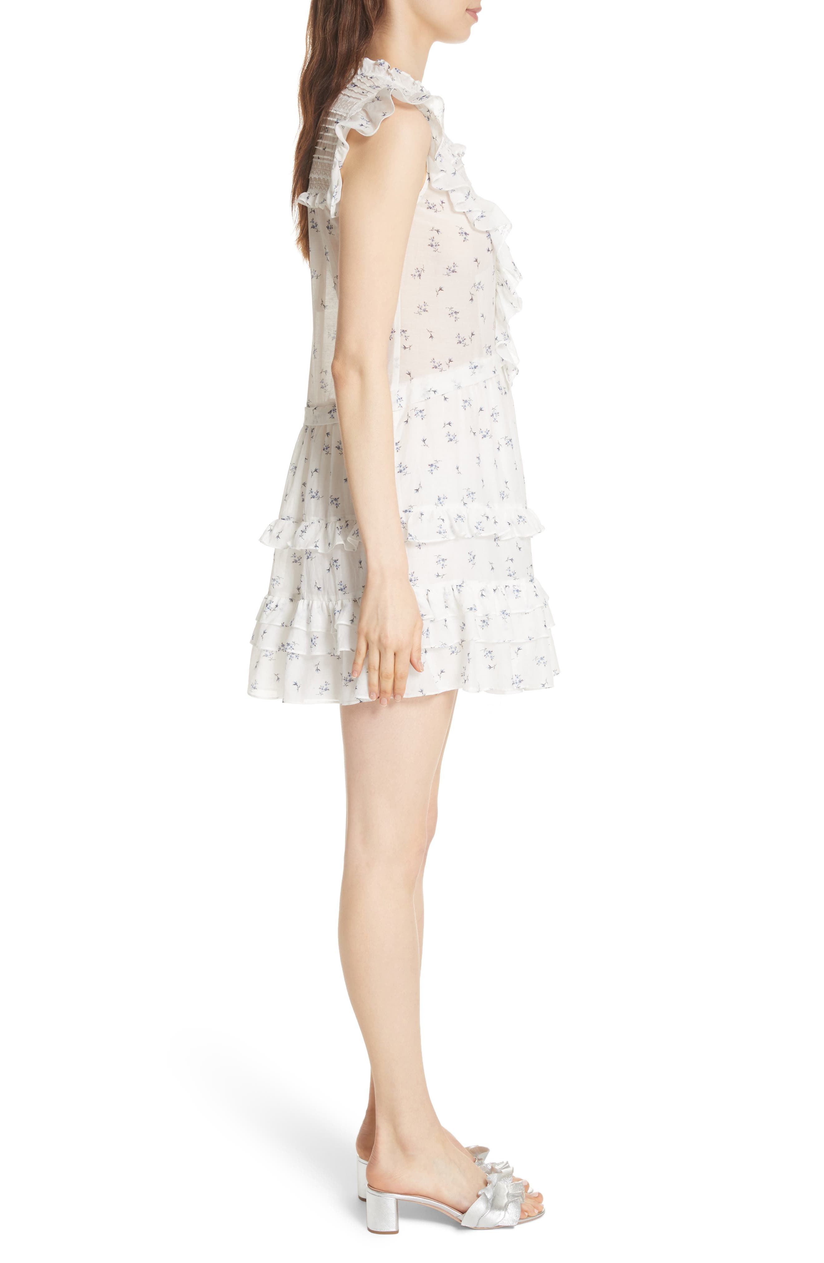 Floral Spring A-Line Dress,                             Alternate thumbnail 3, color,                             Snow Combo