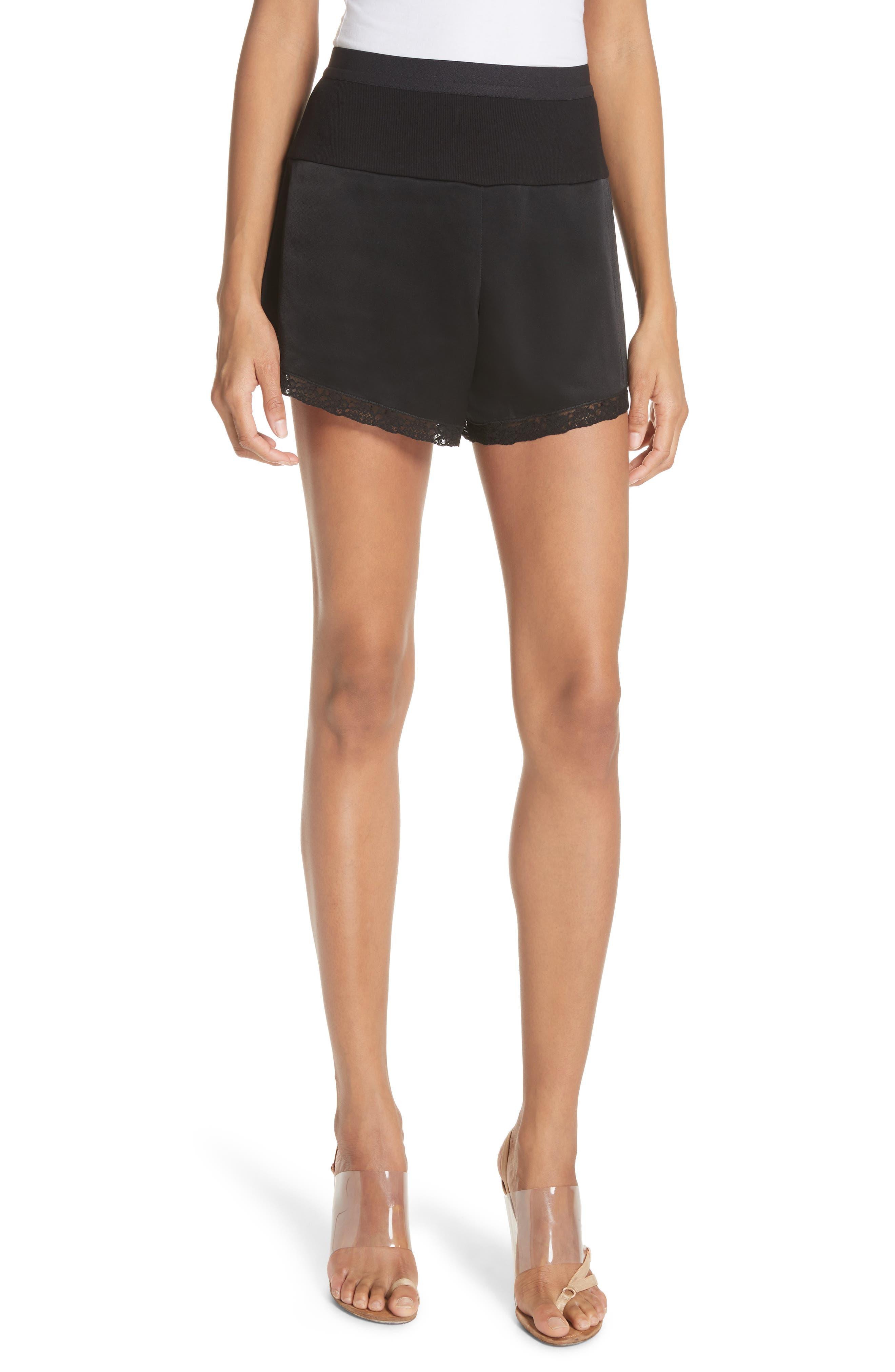 Lace Trim Satin Shorts,                             Main thumbnail 1, color,                             Black