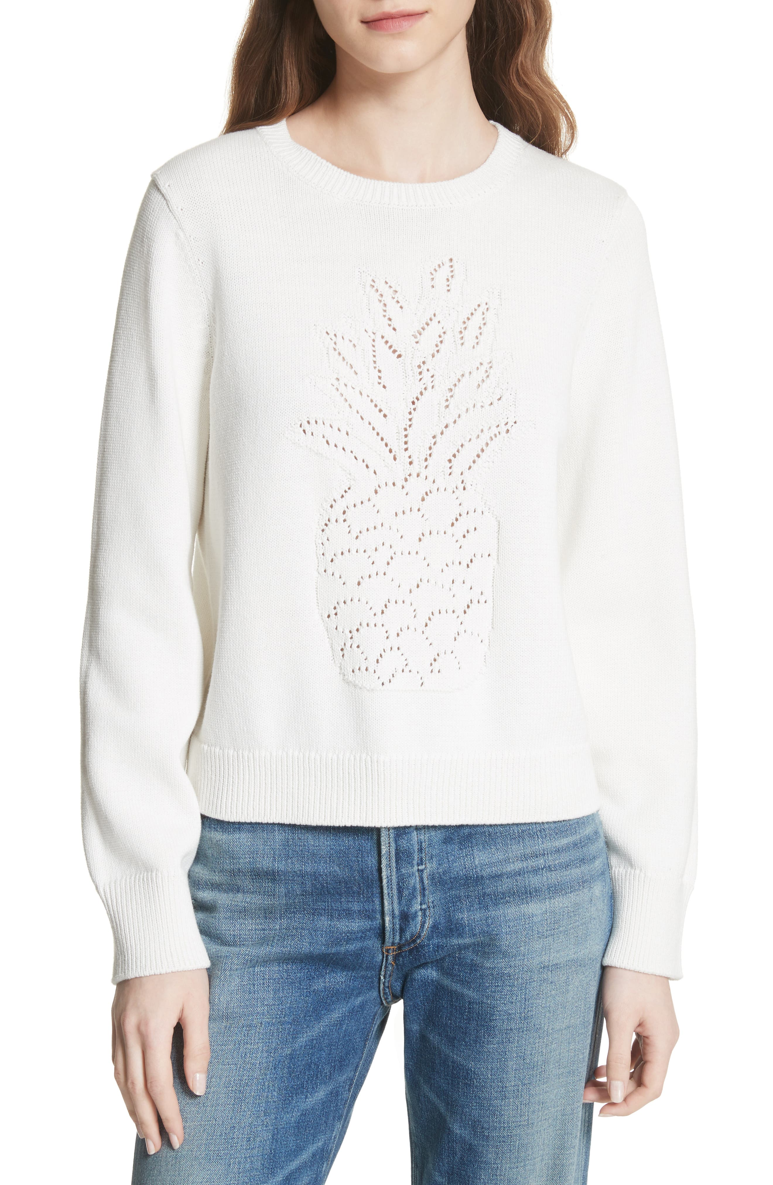 Barin Pineapple Cotton Sweater,                         Main,                         color, Porcelain