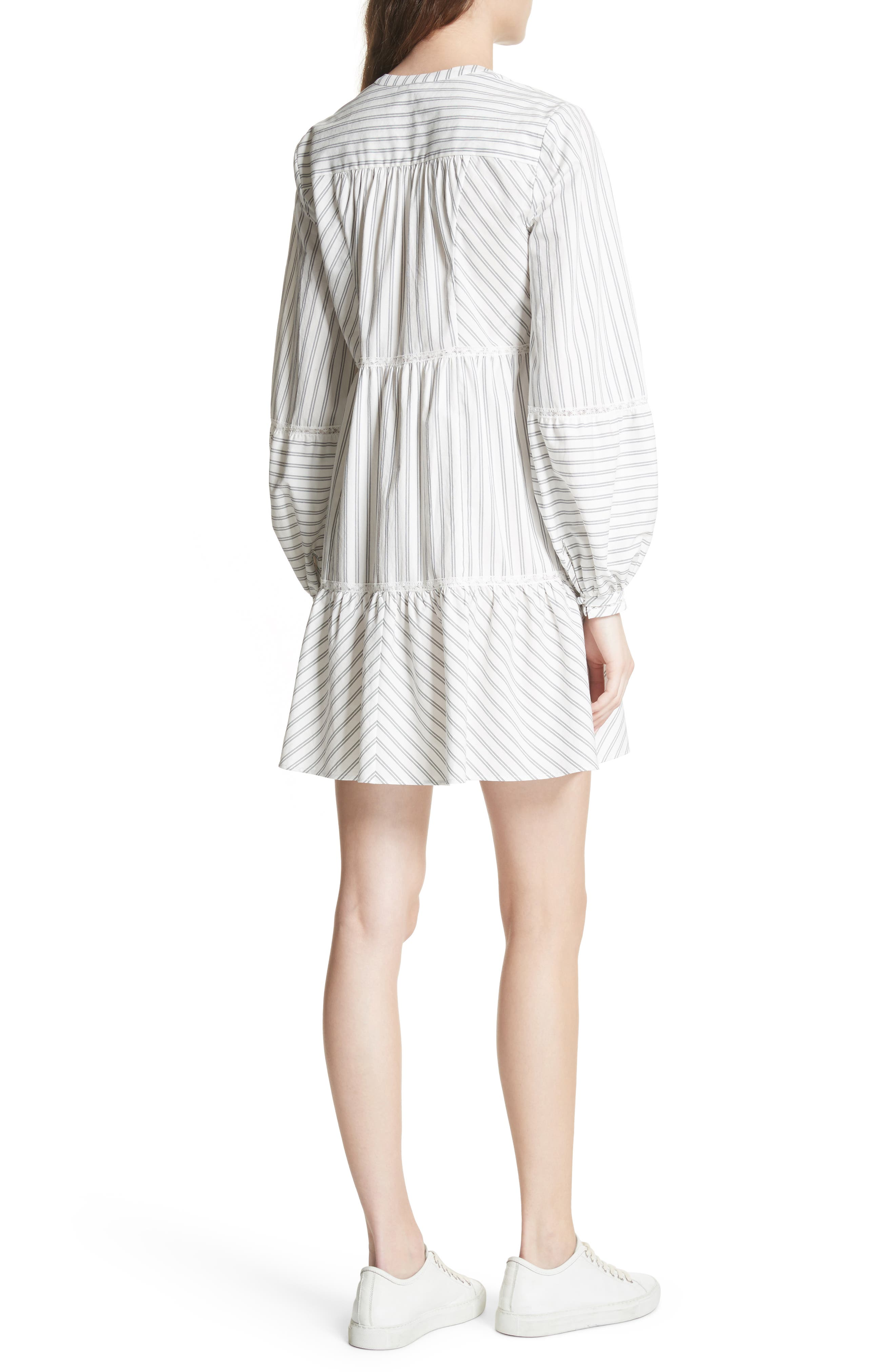 Marison Stripe A-Line Dress,                             Alternate thumbnail 2, color,                             Porcelain