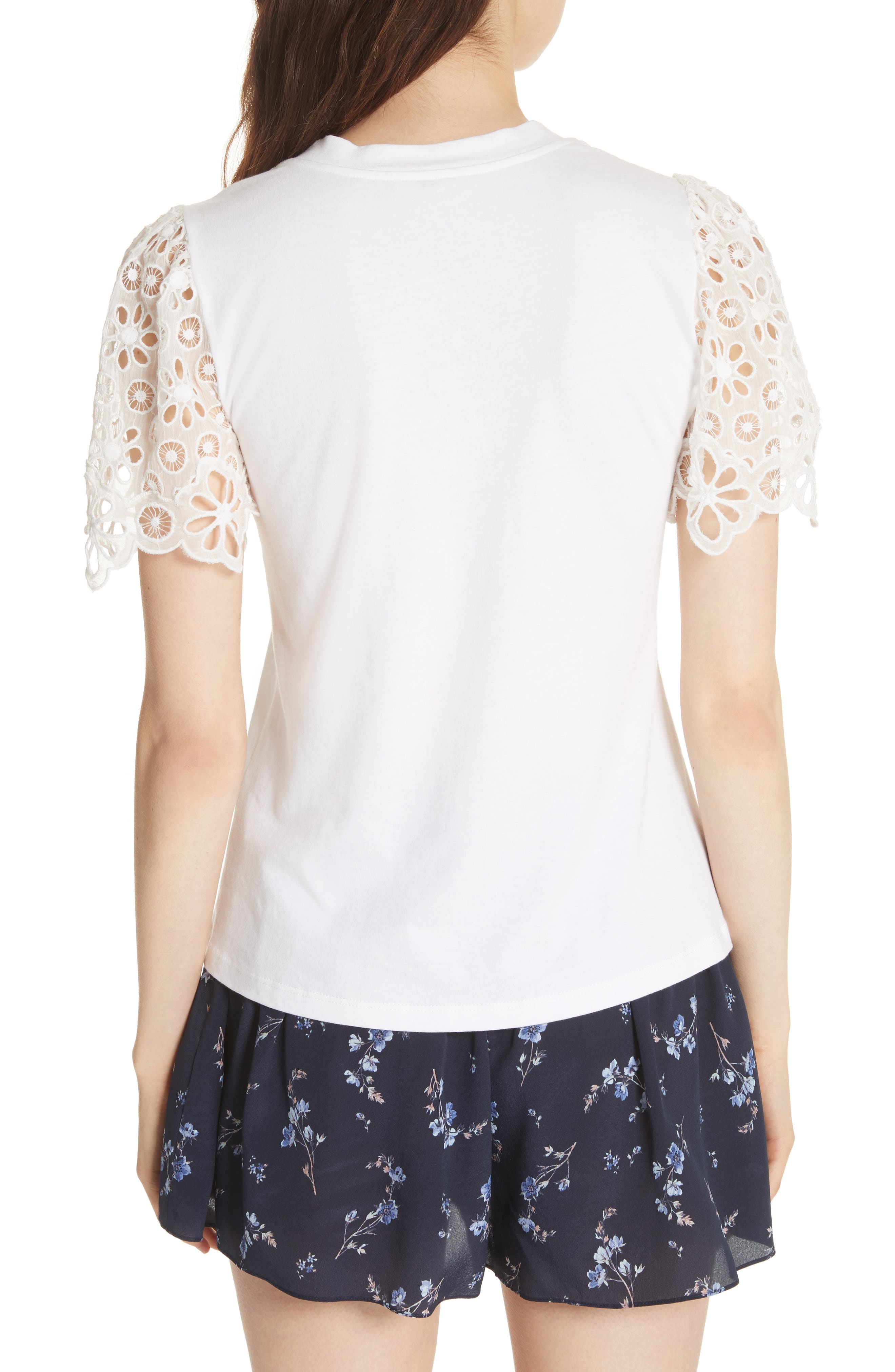 Lace Sleeve Cotton Jersey Top,                             Alternate thumbnail 2, color,                             Milk