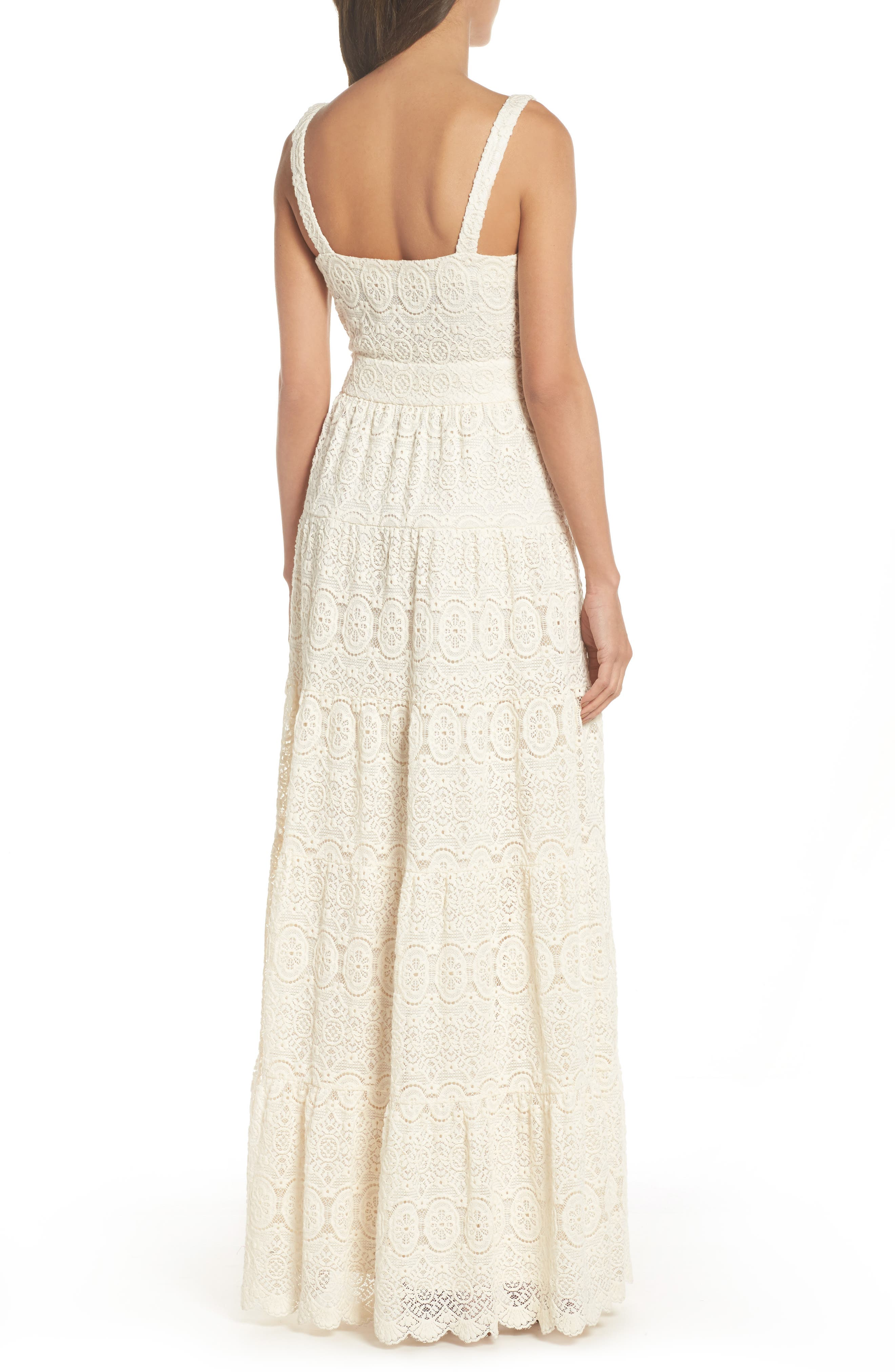 Tiered Lace Maxi Dress,                             Alternate thumbnail 2, color,                             Ivory