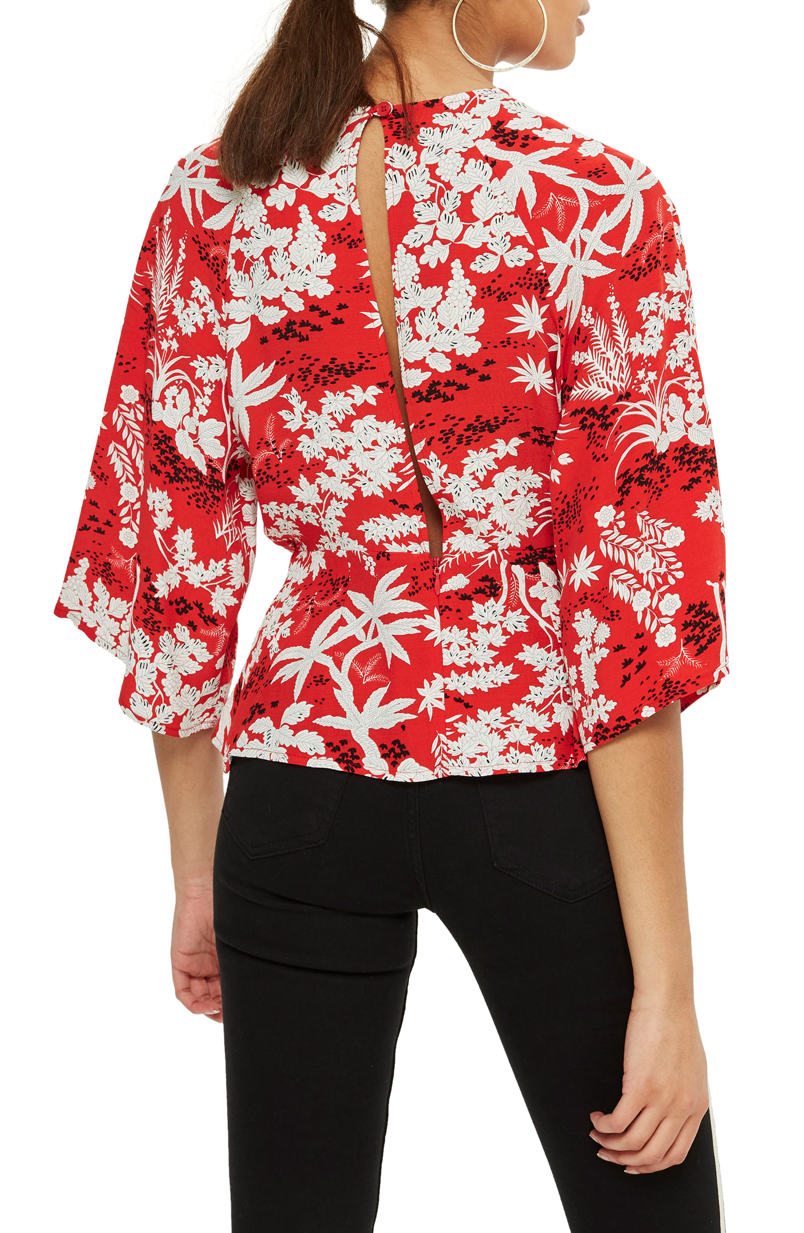 Fern Knot Front Blouse,                             Alternate thumbnail 3, color,                             Red Multi
