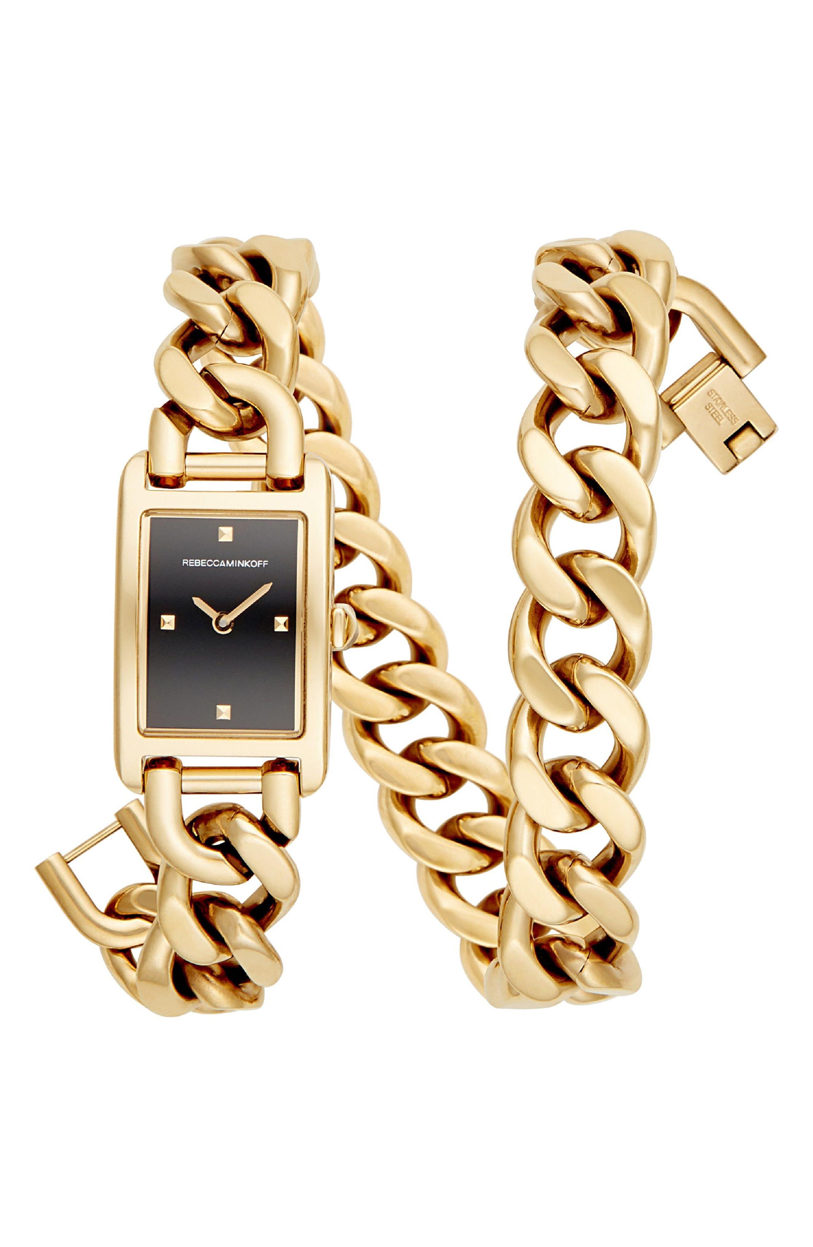 Moment Chain Wrap Bracelet Watch, 19mm x 30mm,                         Main,                         color, Gold/ Black/ Gold