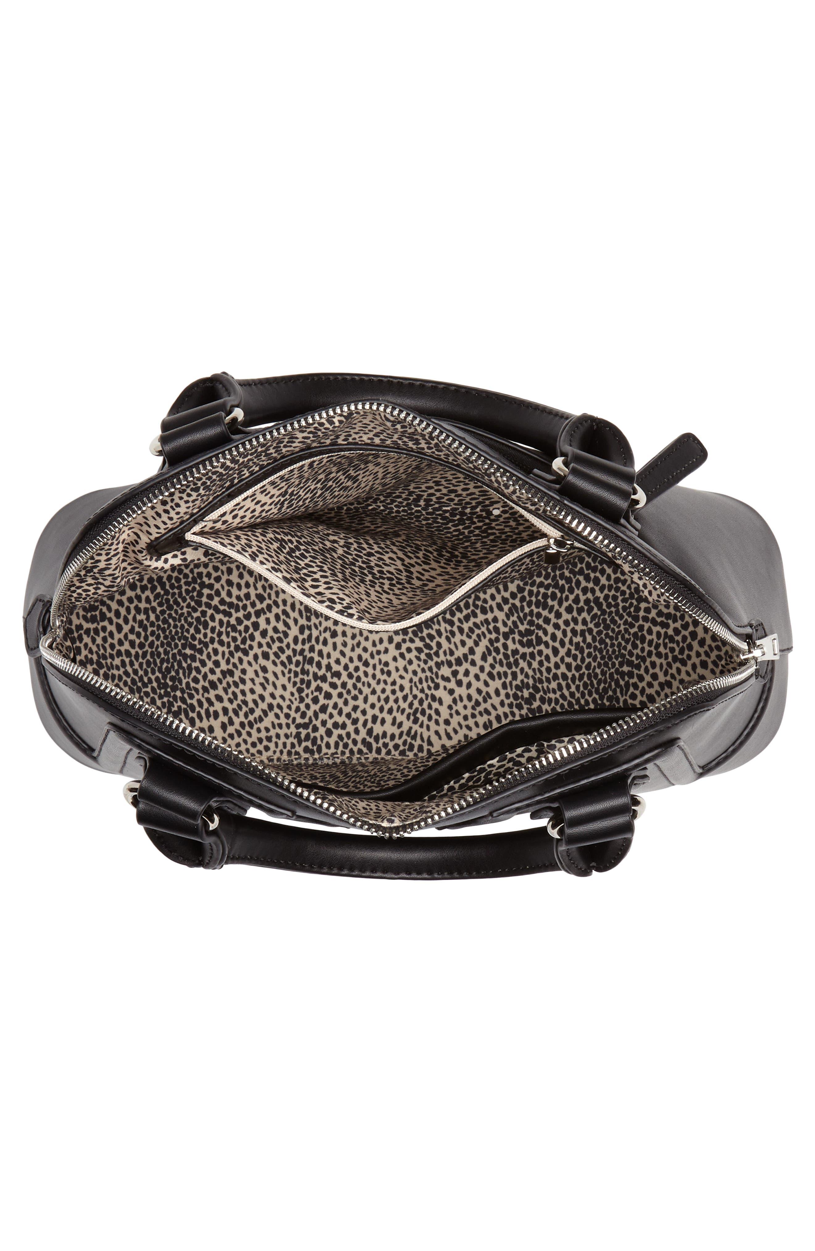 Structured Faux Leather Dome Satchel,                             Alternate thumbnail 4, color,                             Black