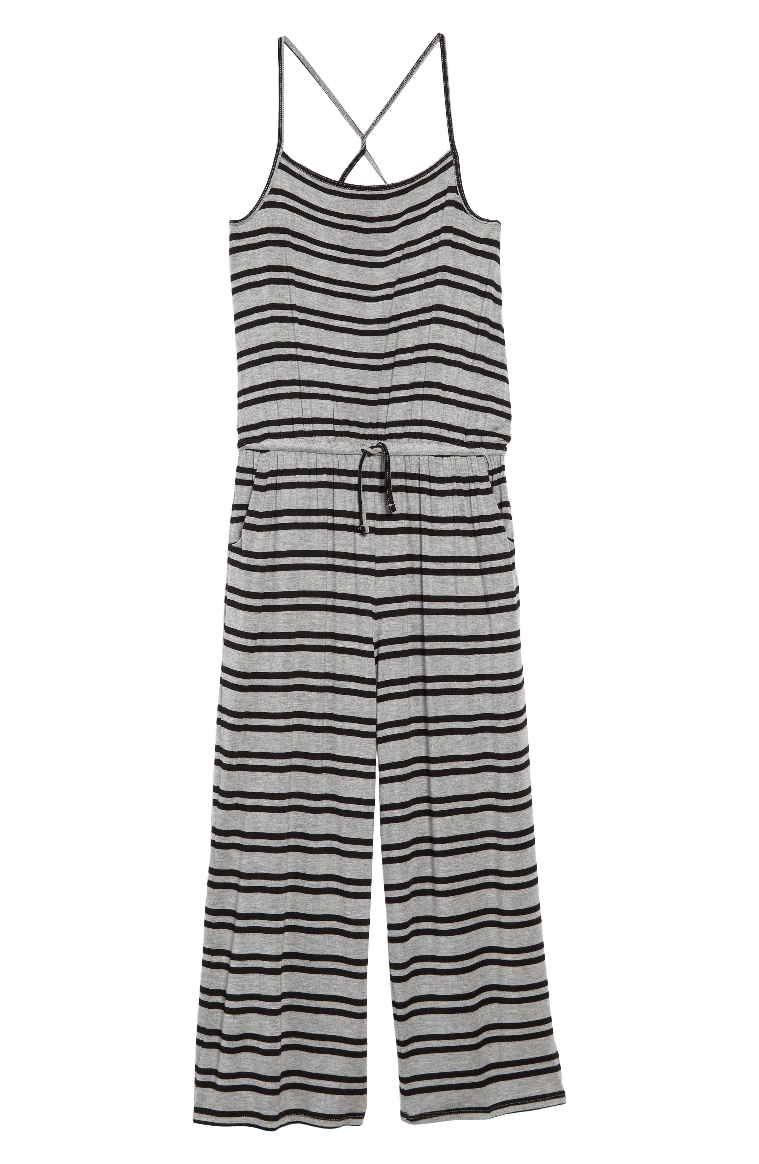 Stripe Wide Leg Knit Jumpsuit,                         Main,                         color, Grey Medium Heather Stripe