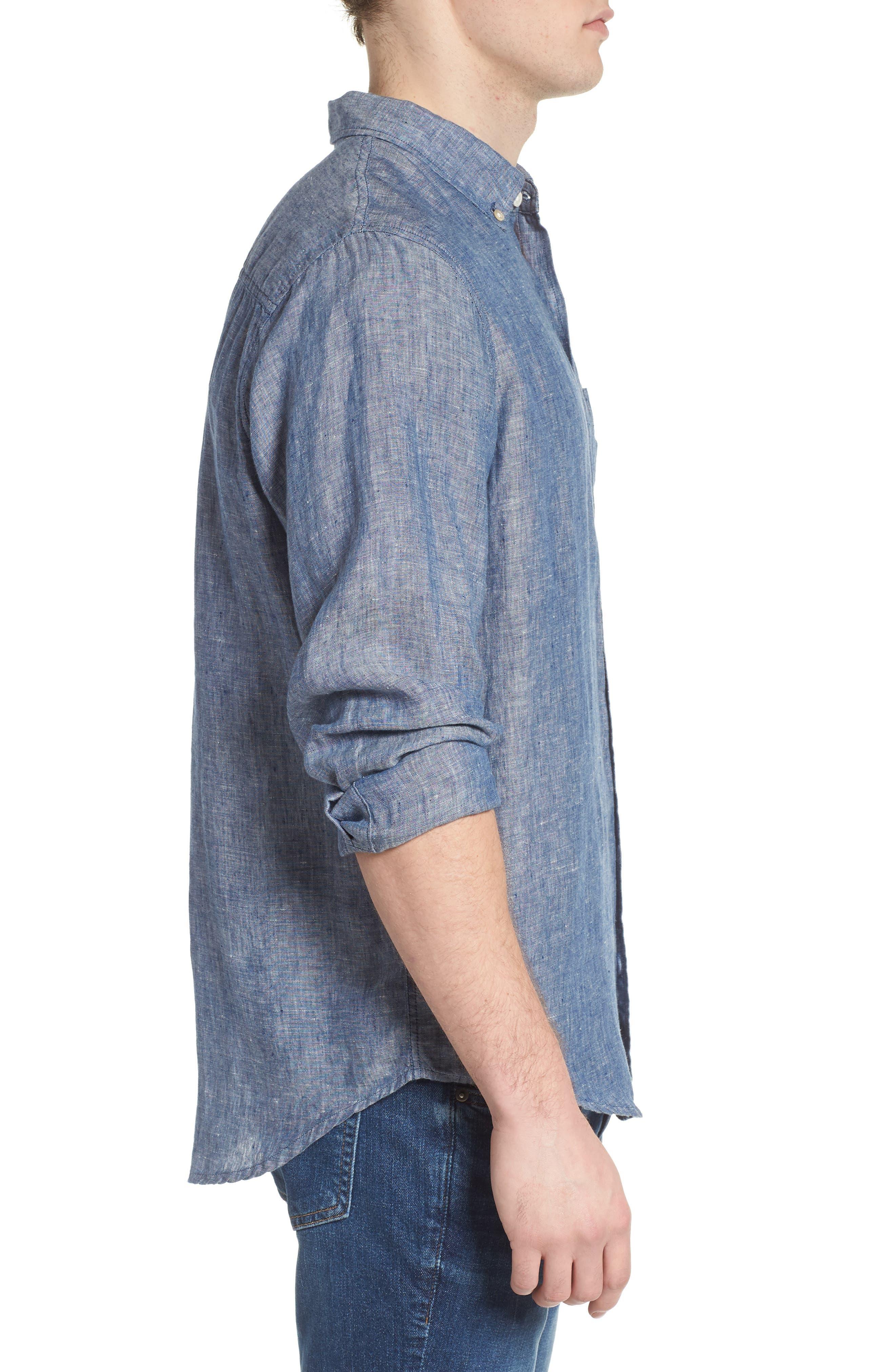 Bennett Linen Sport Shirt,                             Alternate thumbnail 3, color,                             Chambray Blue