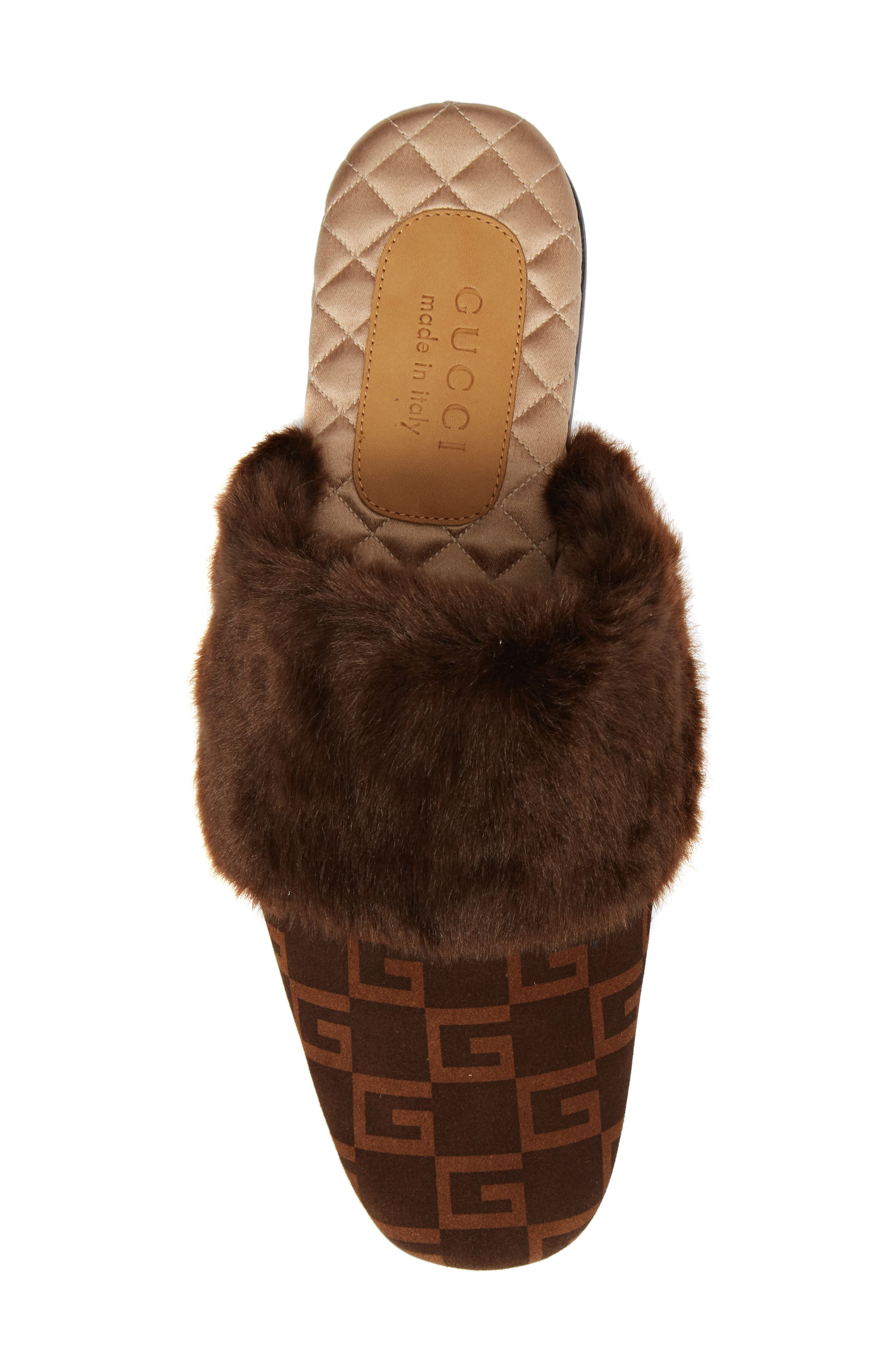 Lawrence Square-G Faux Fur Slipper,                             Alternate thumbnail 5, color,                             Brown/ Sigaro