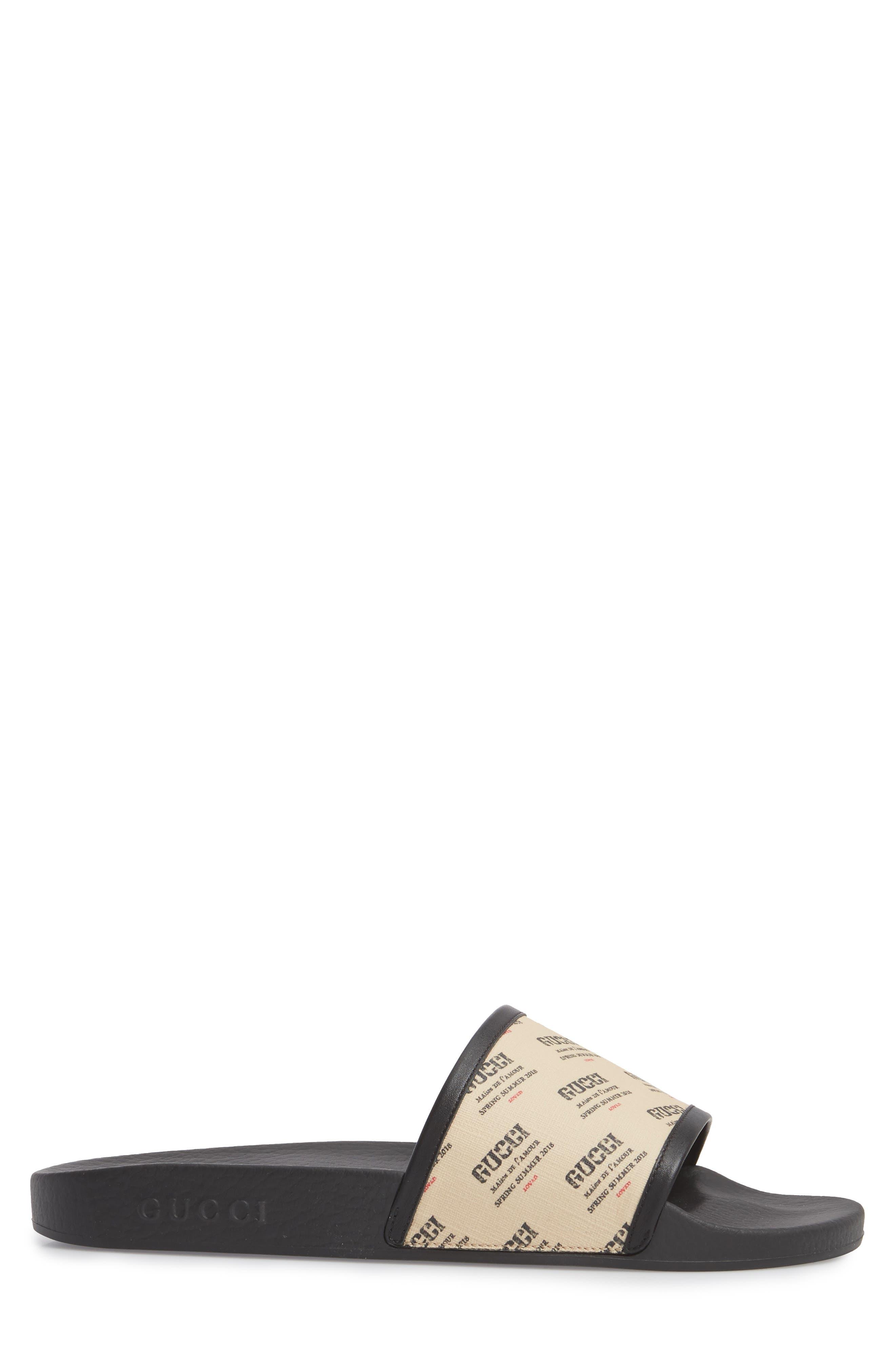 Invite Slide Sandal,                             Alternate thumbnail 3, color,                             Black Patino
