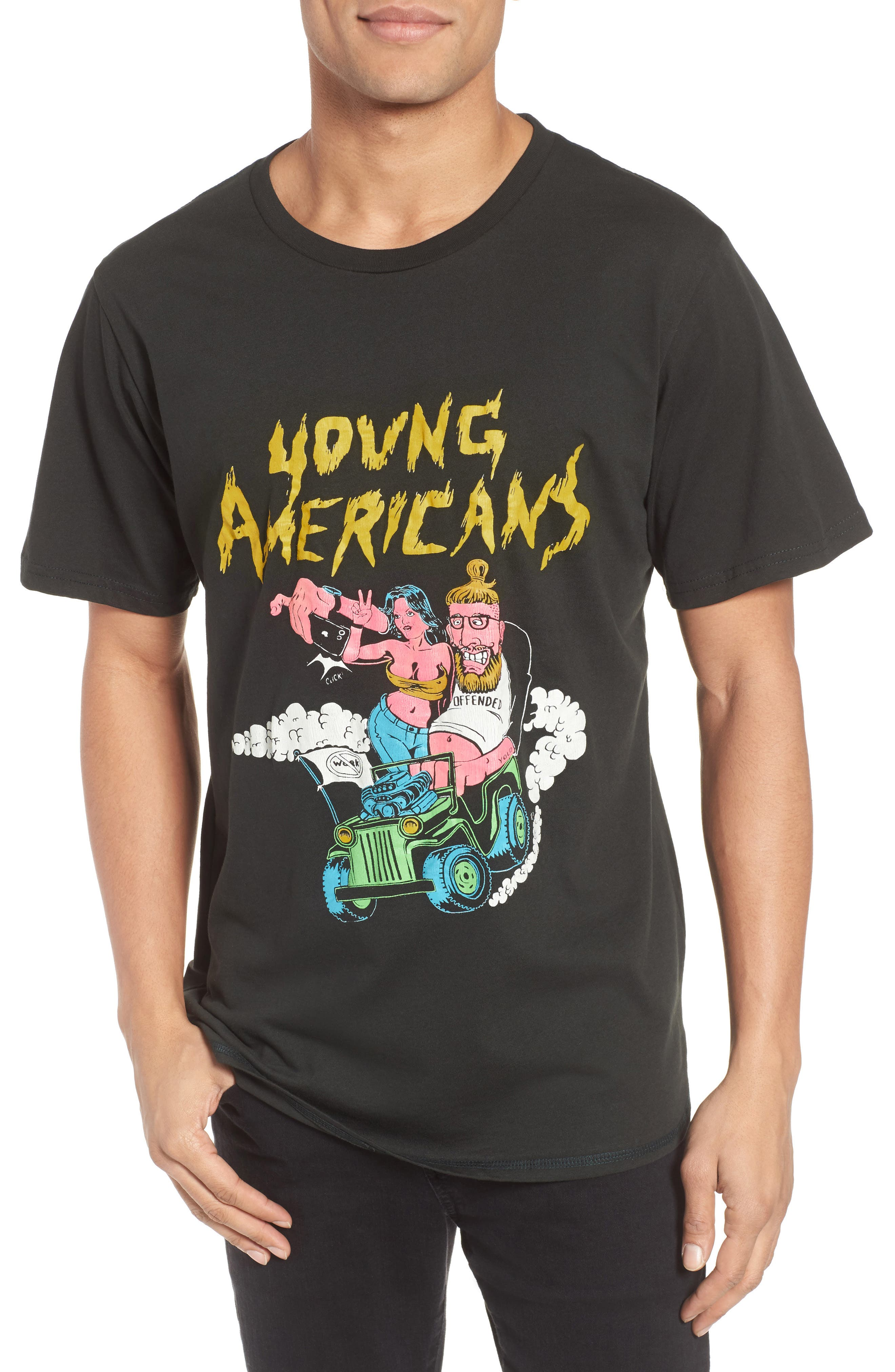 Young Americans Slim Graphic T-Shirt,                             Main thumbnail 1, color,                             Neon On Dusty Black
