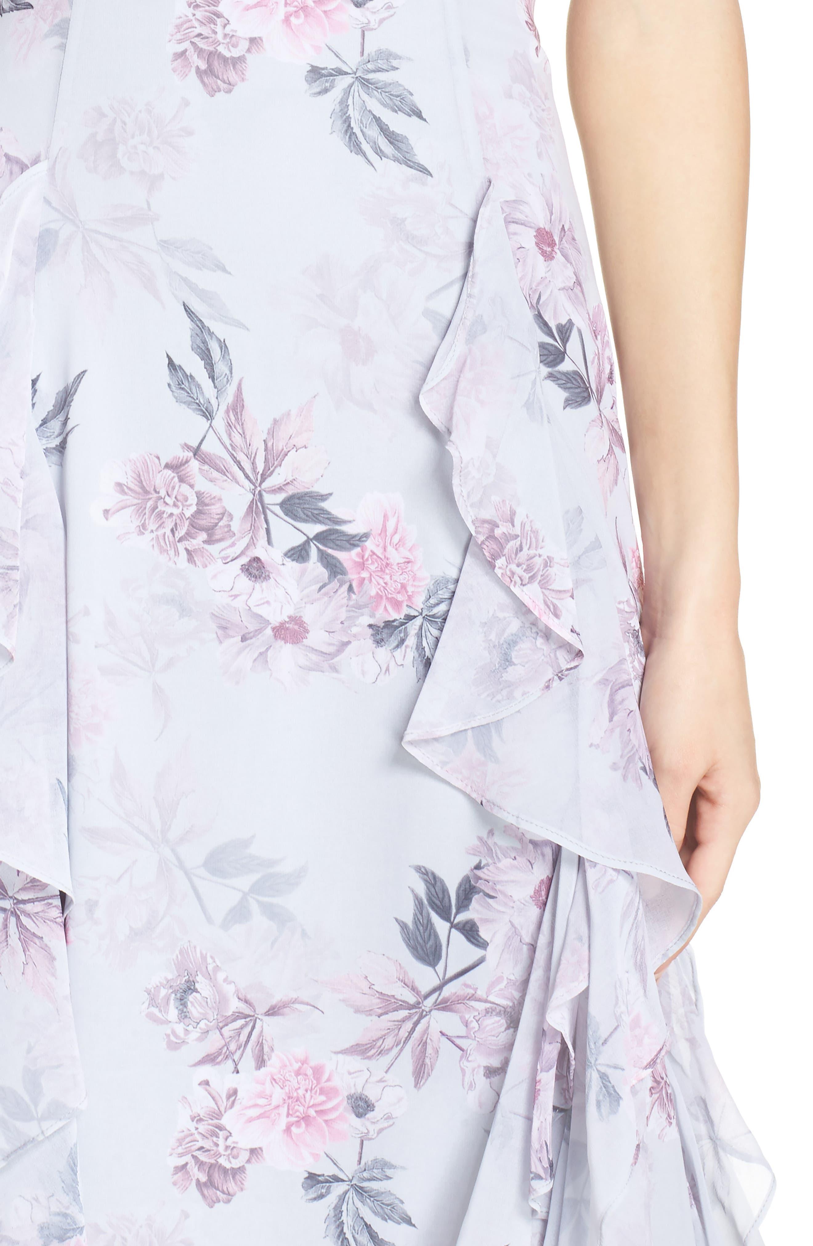 Nav Ruffle Gown,                             Alternate thumbnail 4, color,                             Dream Floral