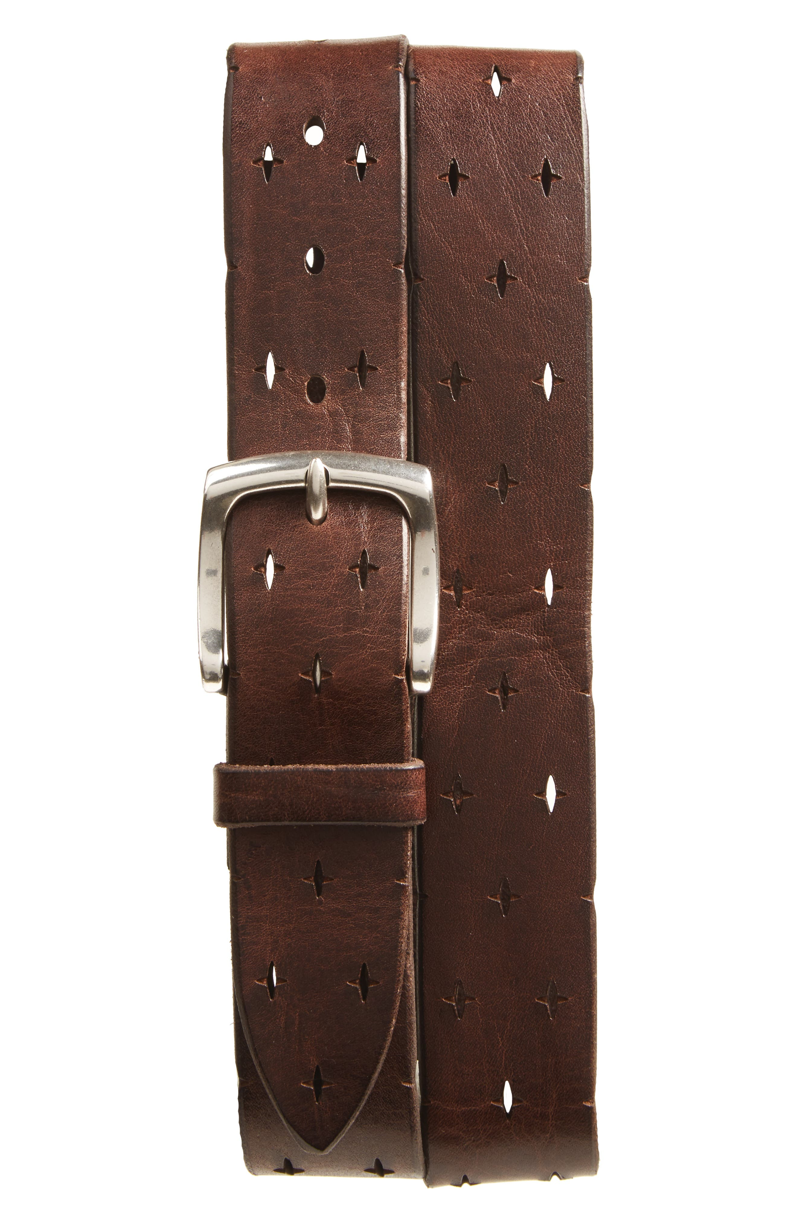 Perforated Leather Belt,                             Main thumbnail 1, color,                             T. Moro