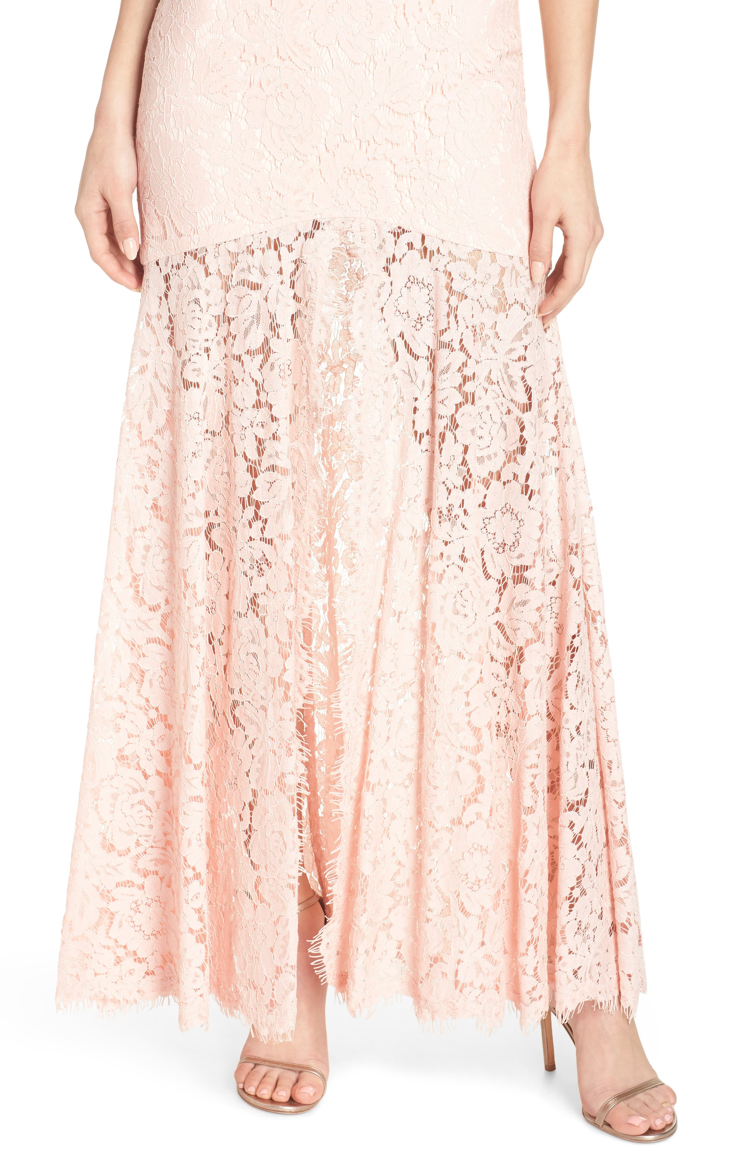 Babe Lace Gown,                             Alternate thumbnail 4, color,                             Pale Pink