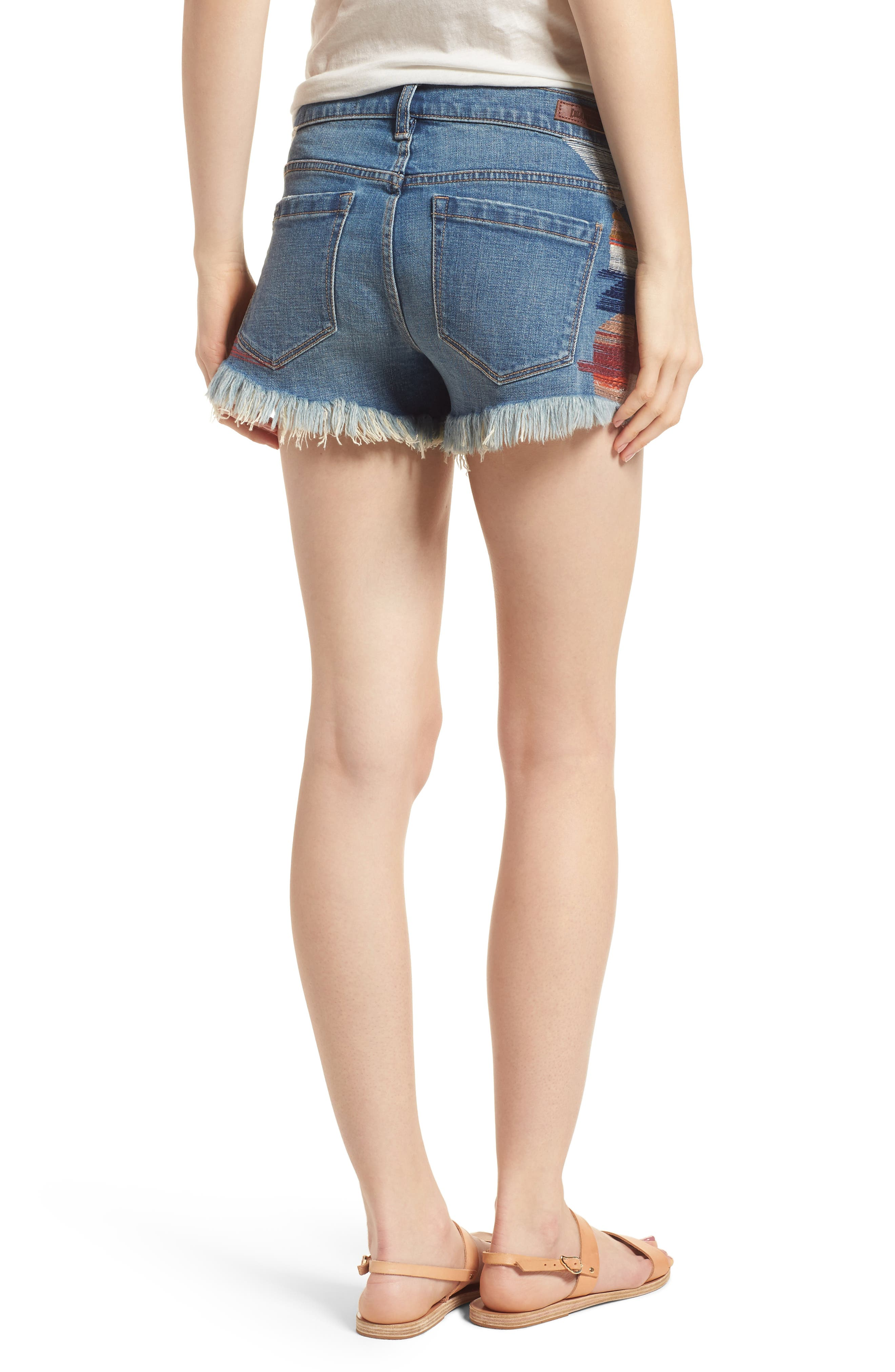 The Astor Embroidered Denim Shorts,                             Alternate thumbnail 2, color,                             East Coast Blue
