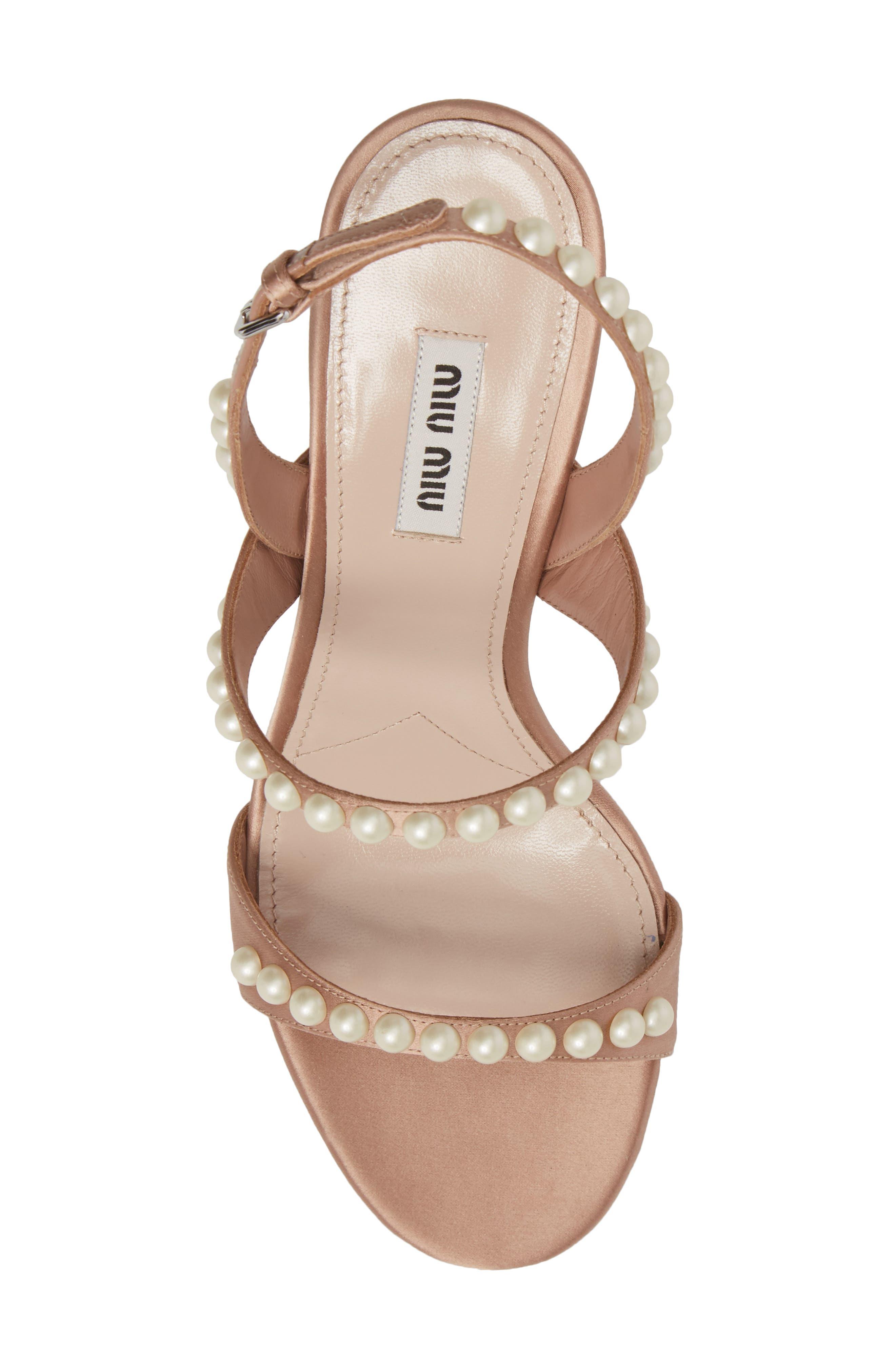 Imitation Pearl Slingback Sandal,                             Alternate thumbnail 5, color,                             Nude